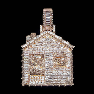 Iced Out Baguette Diamond Trap House - Rose Gold
