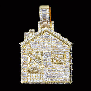Iced Out Baguette Diamond Trap House - Yellow Gold