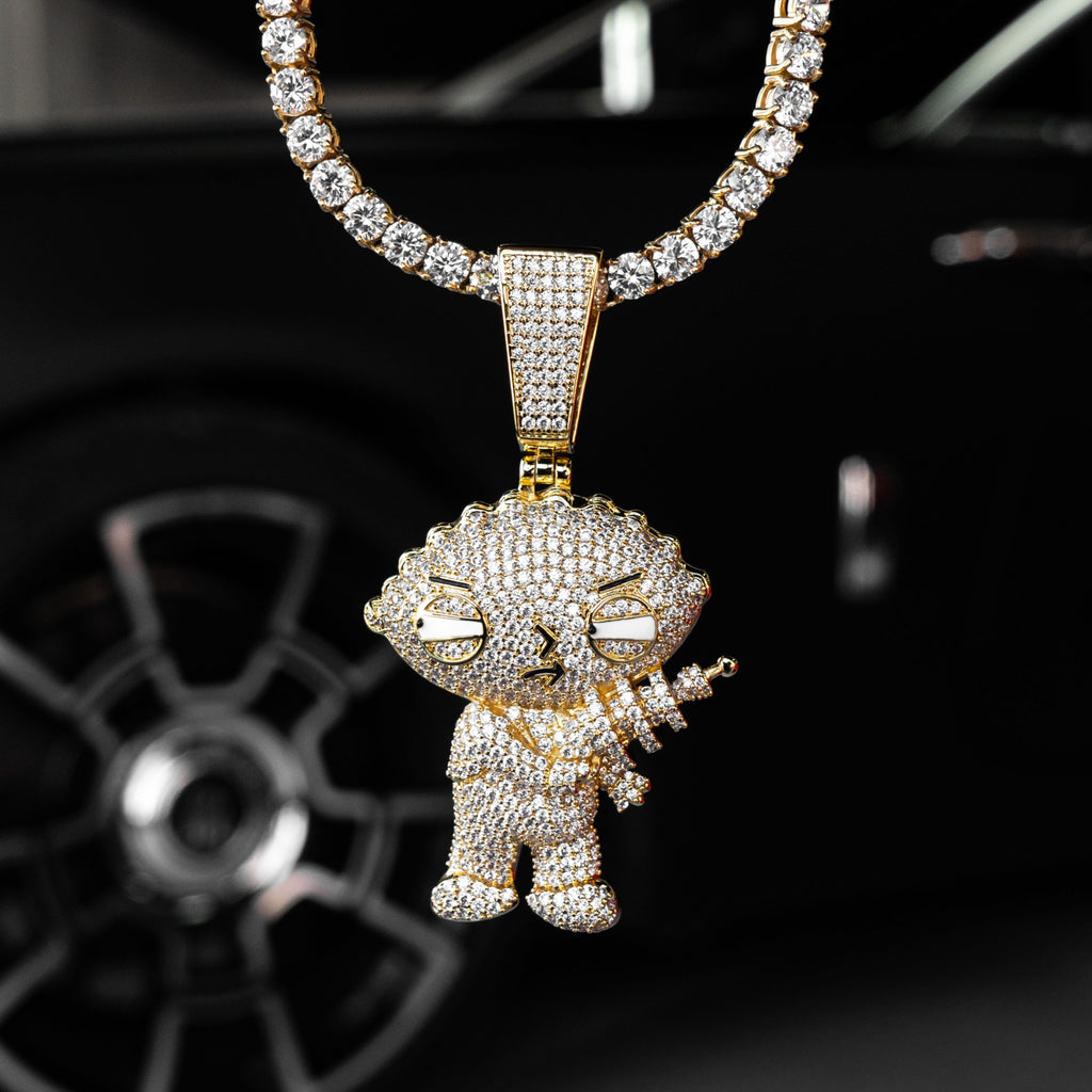 Iced Out Stewie Griffin in Yellow Gold