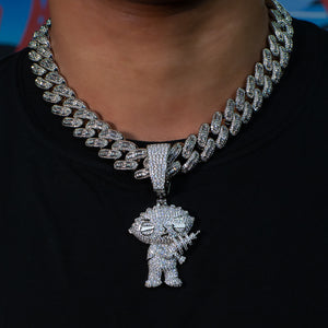 Load image into Gallery viewer, Iced Out Stewie Griffin in White Gold