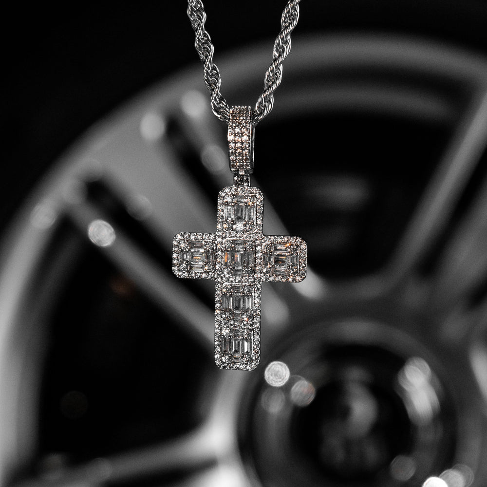 Load image into Gallery viewer, Iced Out Baguette Diamond Cross - White Gold