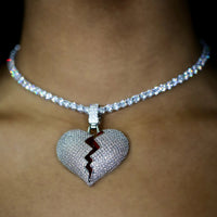 Iced Out Diamond Broken Heart - White Gold