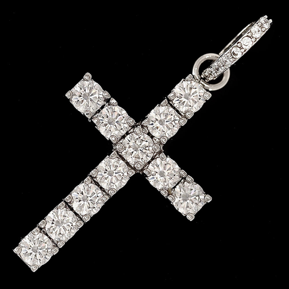 Iced Out Cross Pendant - Rose