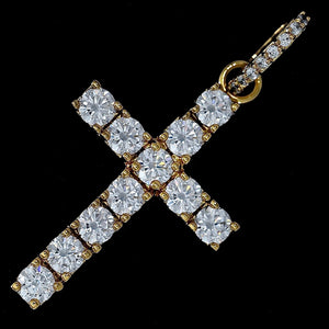 Iced Out Cross Pendant - Yellow