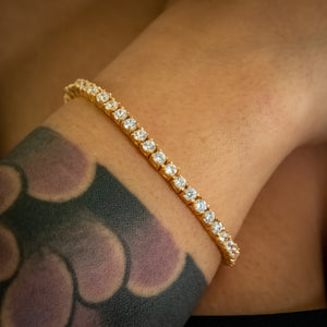 Load image into Gallery viewer, 3mm Yellow Gold Signature Tennis Bracelet