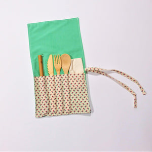cutlery kit - Roll Up -  green flora