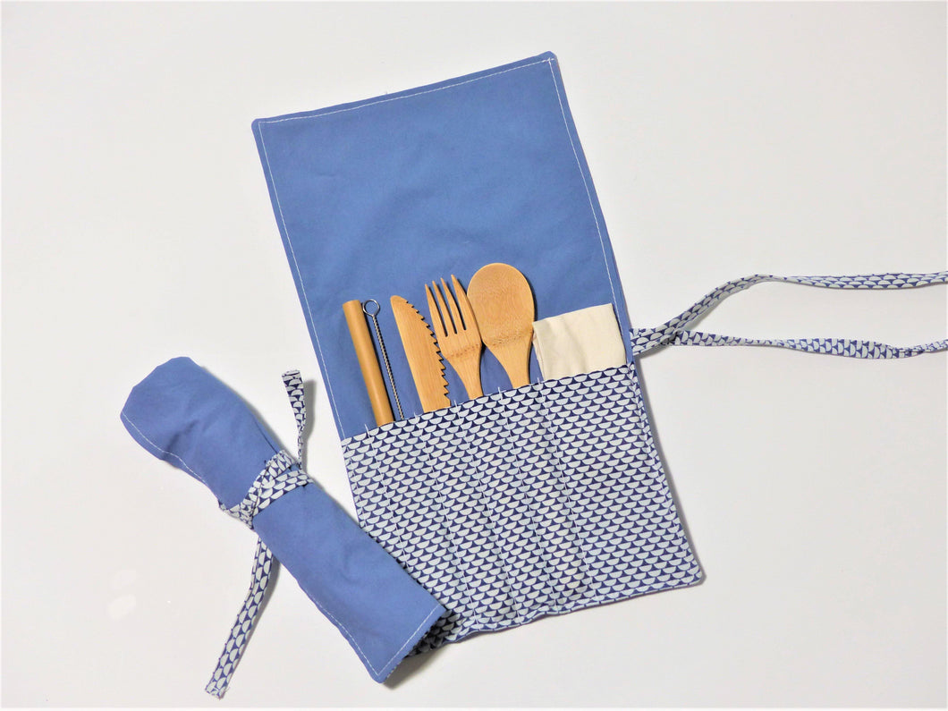 Ocean Scales Roll Up Cutlery Kit