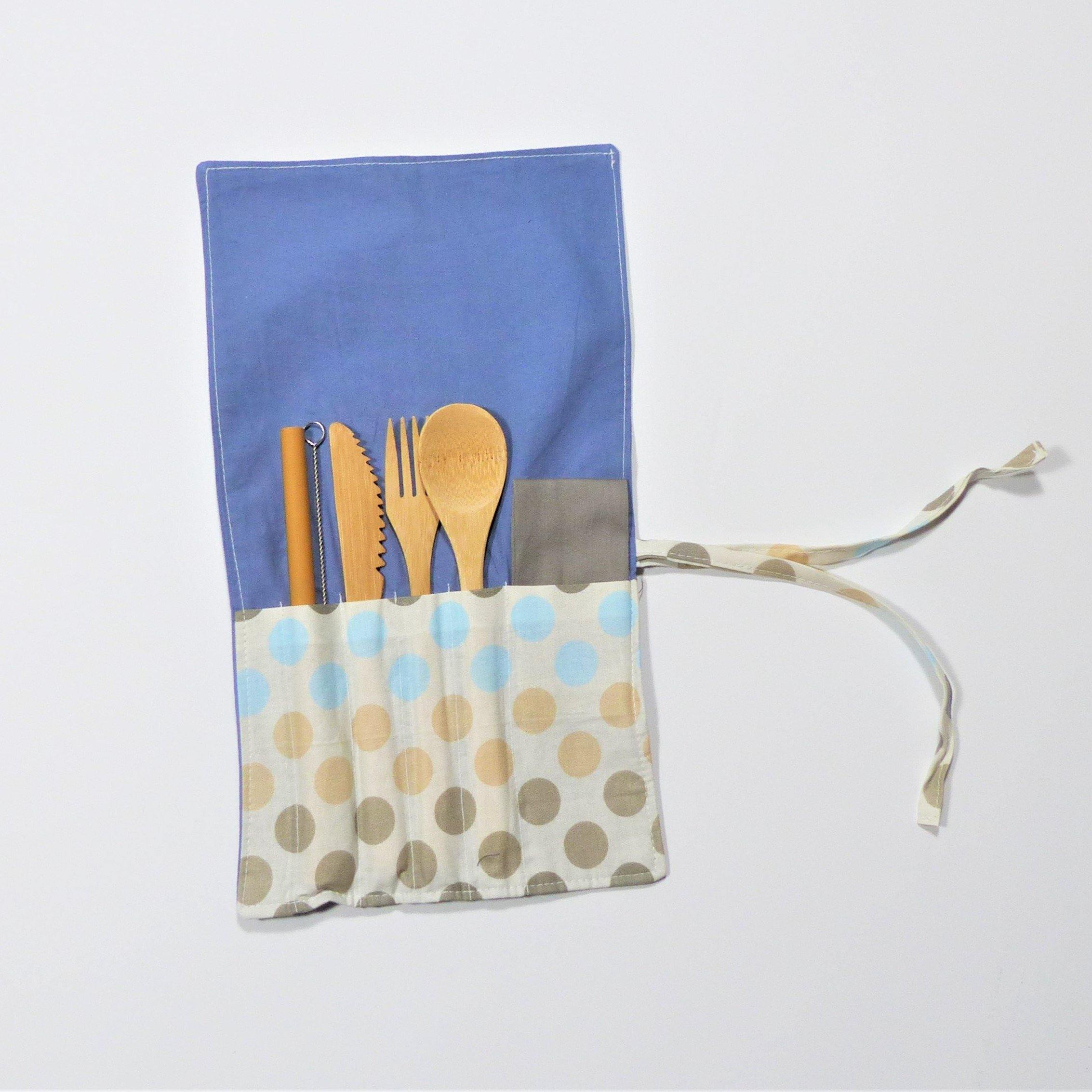 Cutlery Kits - Roll Up- Polka Dots - Earth Warrior Lifestyle