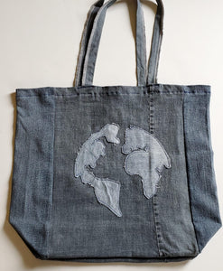 Denim Globe Tote Bag