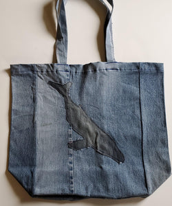Denim Whale Tote Bag
