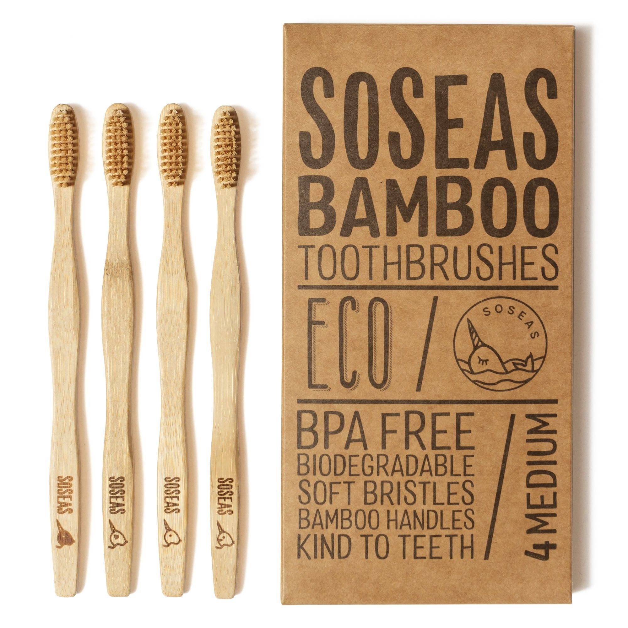 Bamboo Toothbrushes [4 Pack]