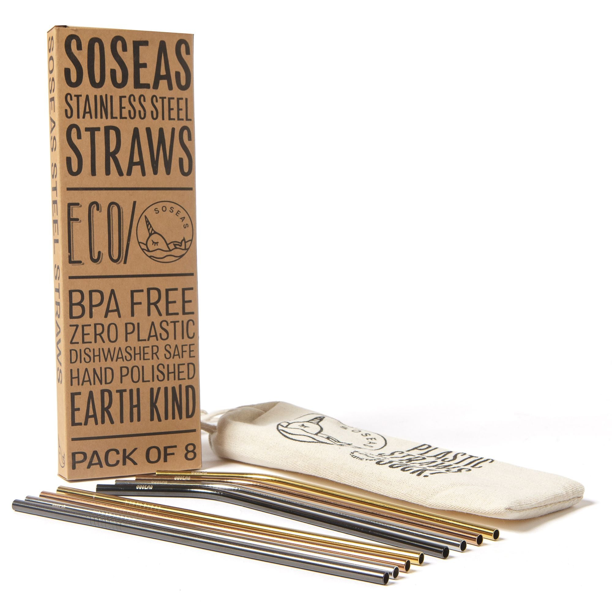 Reusable Stainless Steel Straws 8 Pack Alt pic