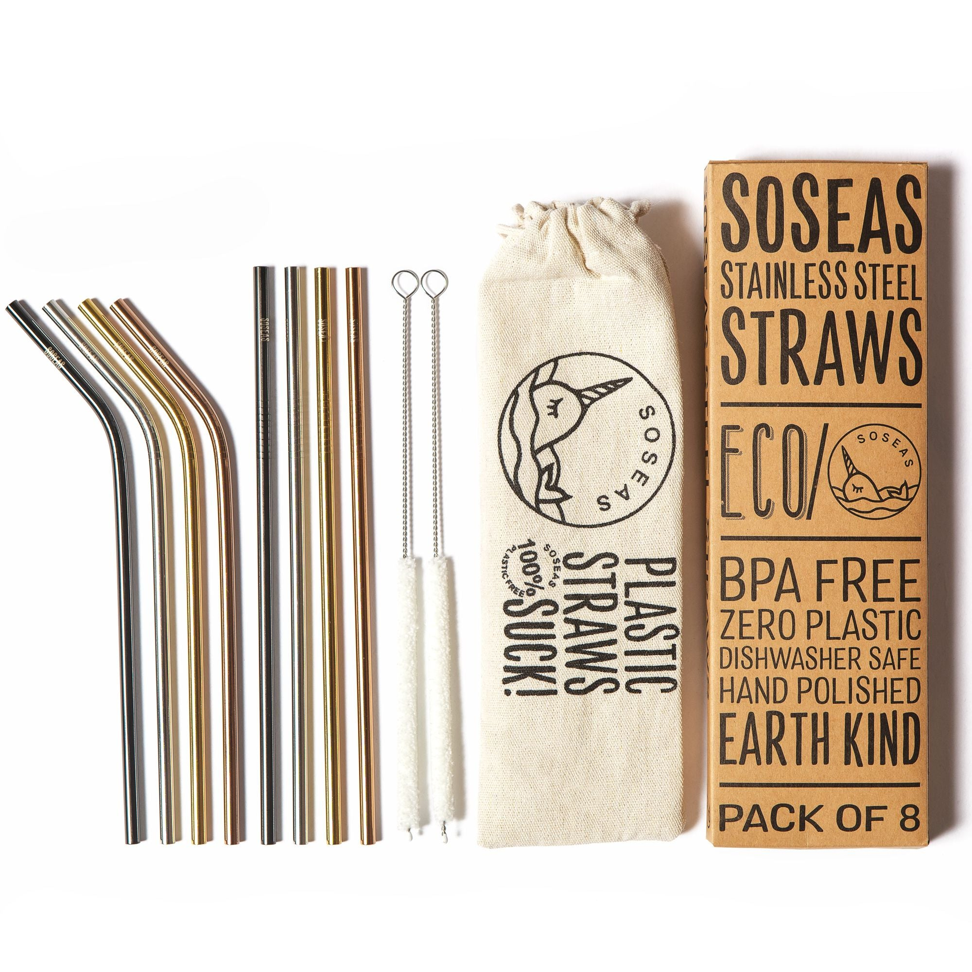 Steel Straws [8 Pack] with FREE Linen Carry Case & Cotton Cleaners