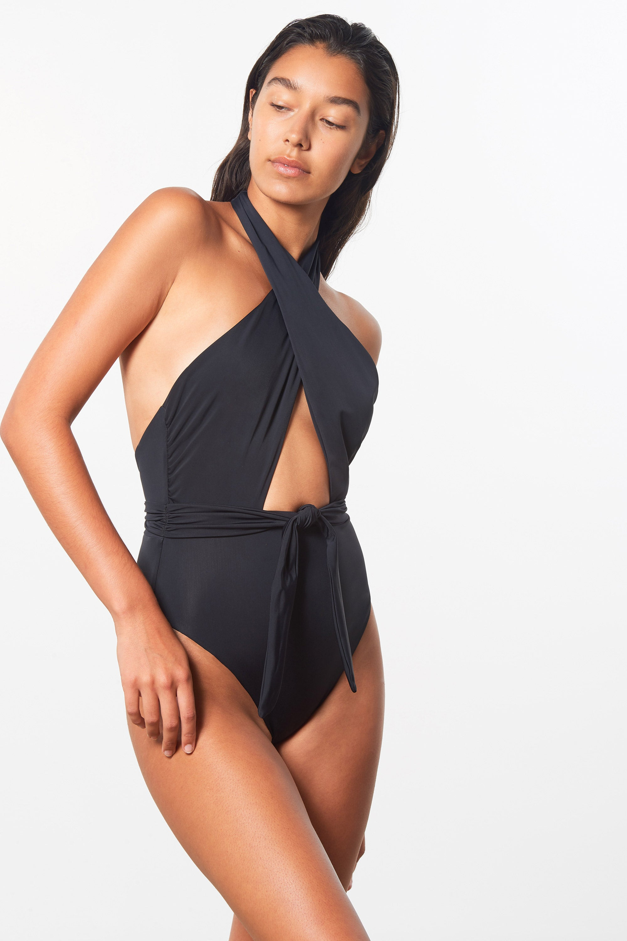 Mara Hoffman Black Roni One Piece in Econyl (side detail)