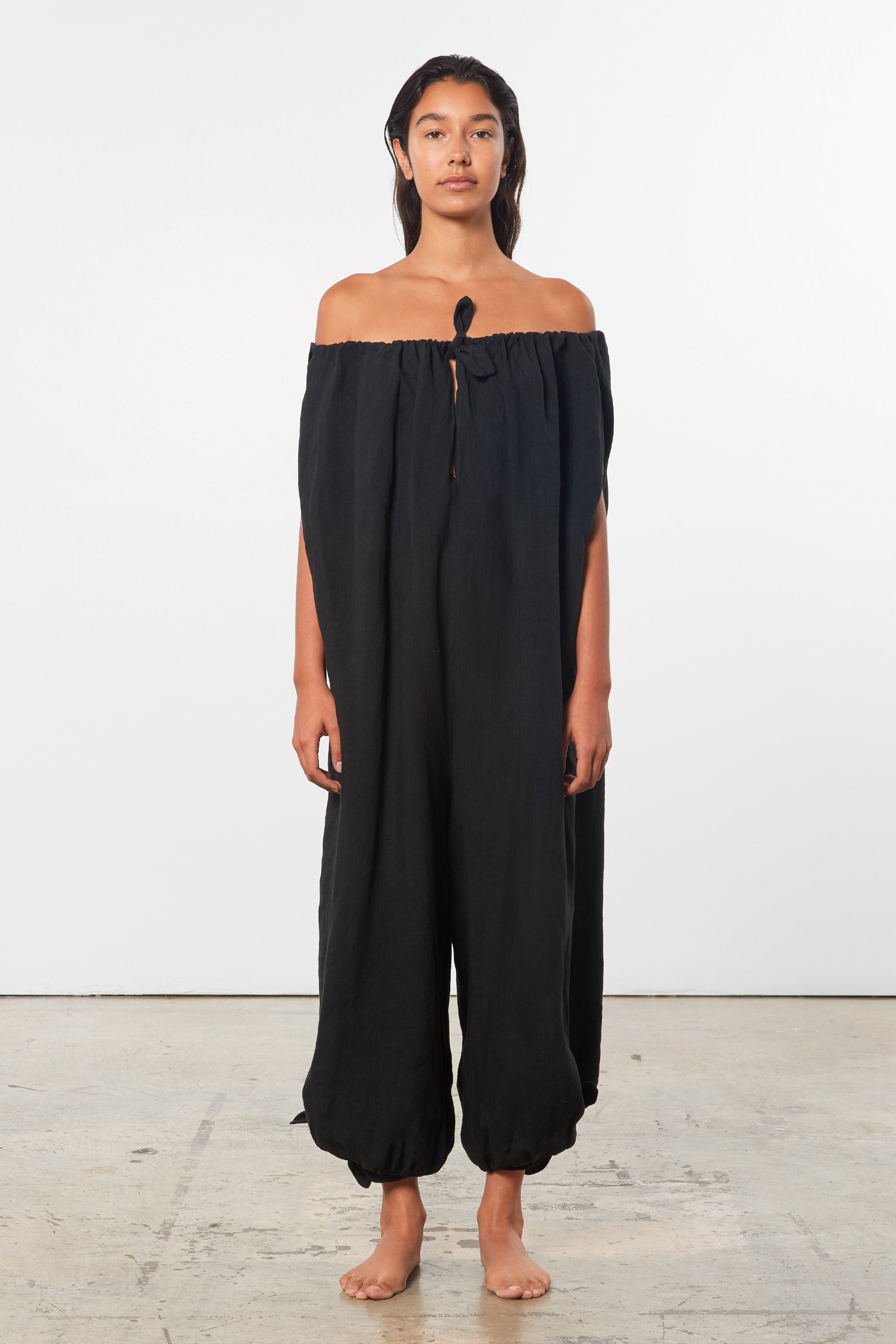 Mara Hoffman Black Fifi Cover Up Jumpsuit in linen (Front)