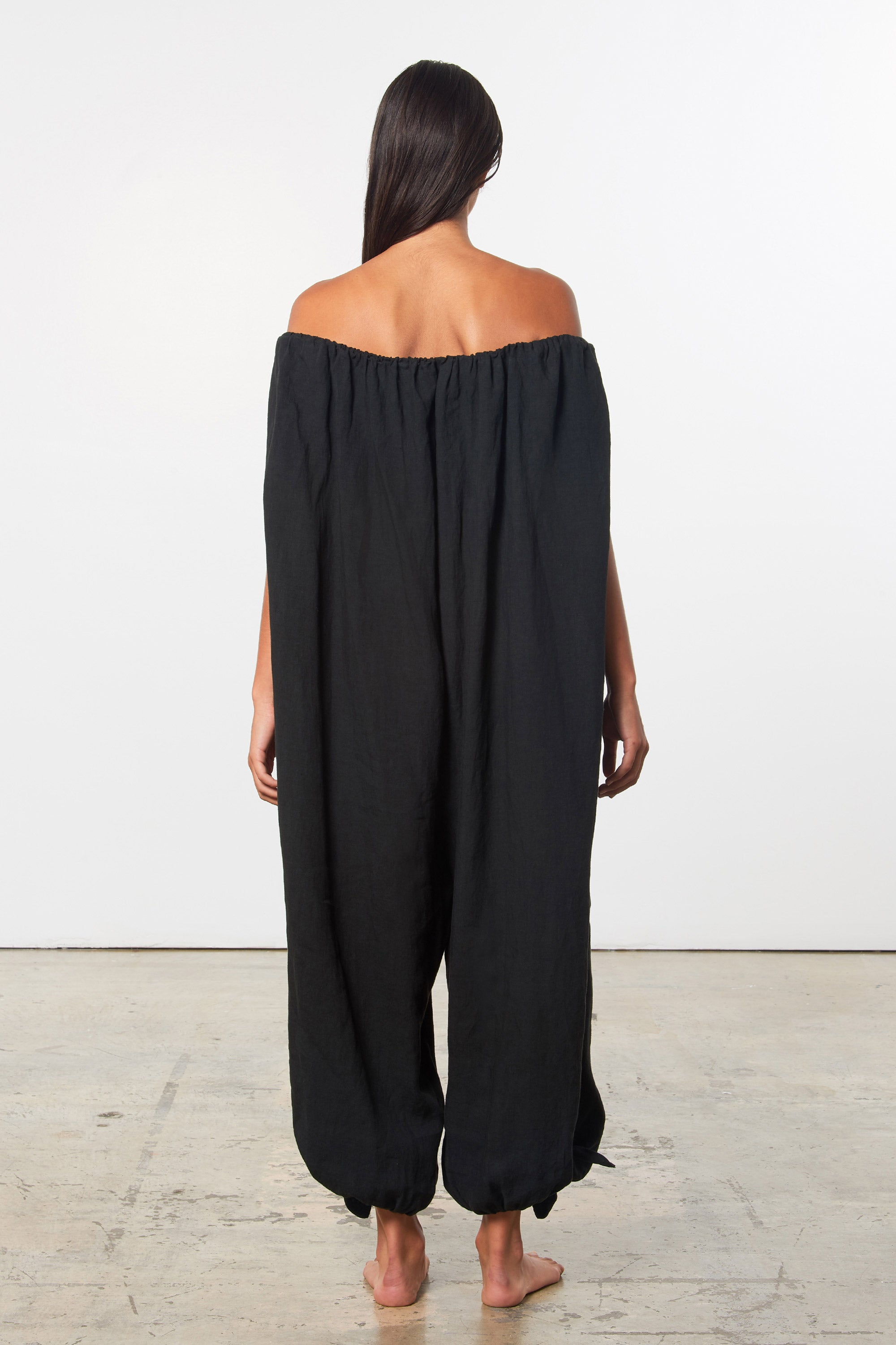 Mara Hoffman Black Fifi Cover Up Jumpsuit in linen (back)