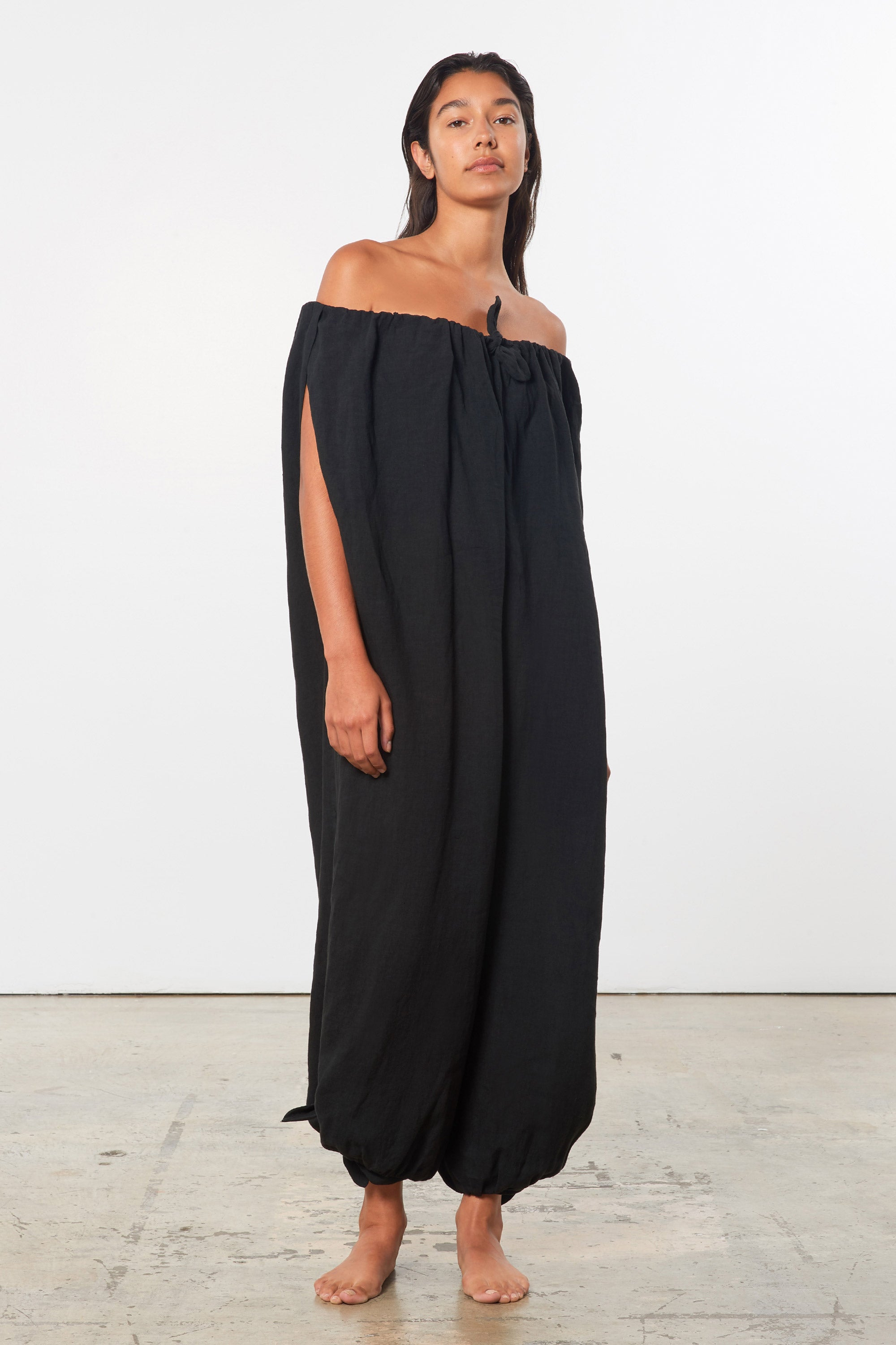 Mara Hoffman Black Fifi Cover Up Jumpsuit in linen (side detail)