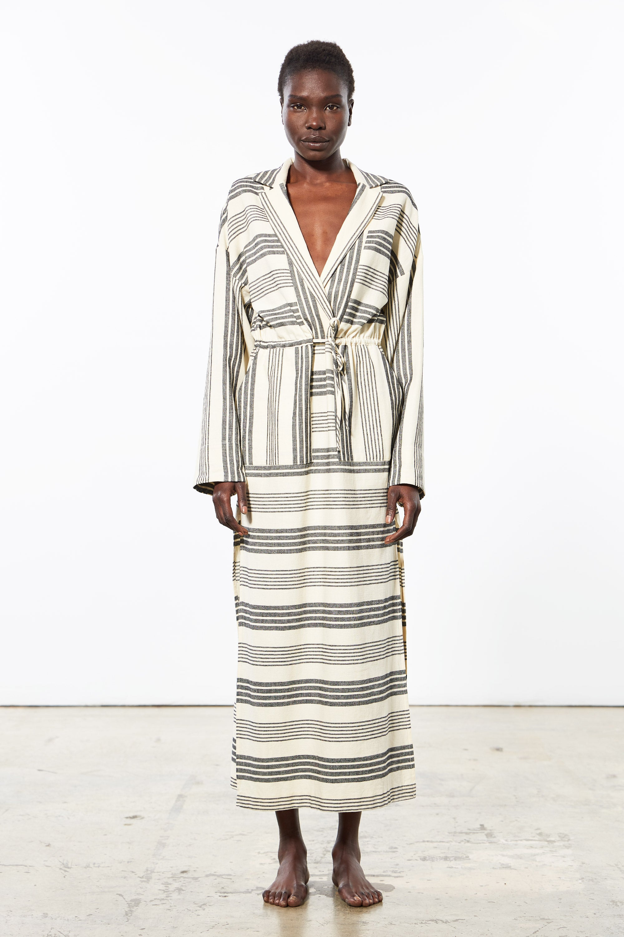 Mara Hoffman Diega Coverup Dress in black striped cotton TENCEL Lyocell blend (front)