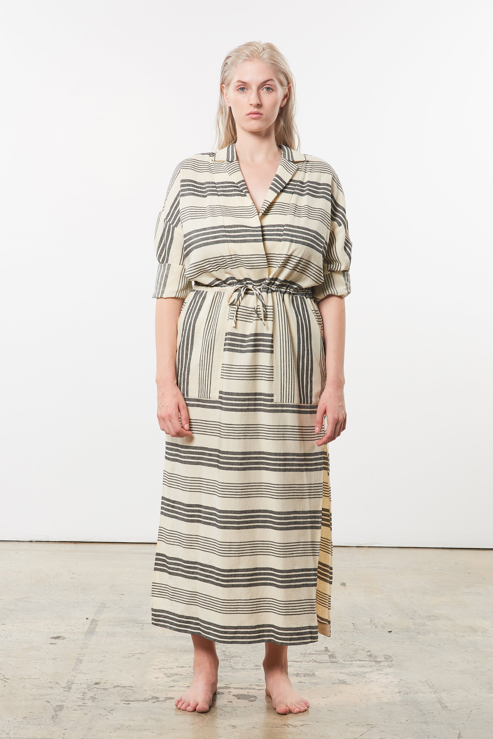 Mara Hoffman Extended Diega Coverup Dress in black striped cotton TENCEL Lyocell blend (front)