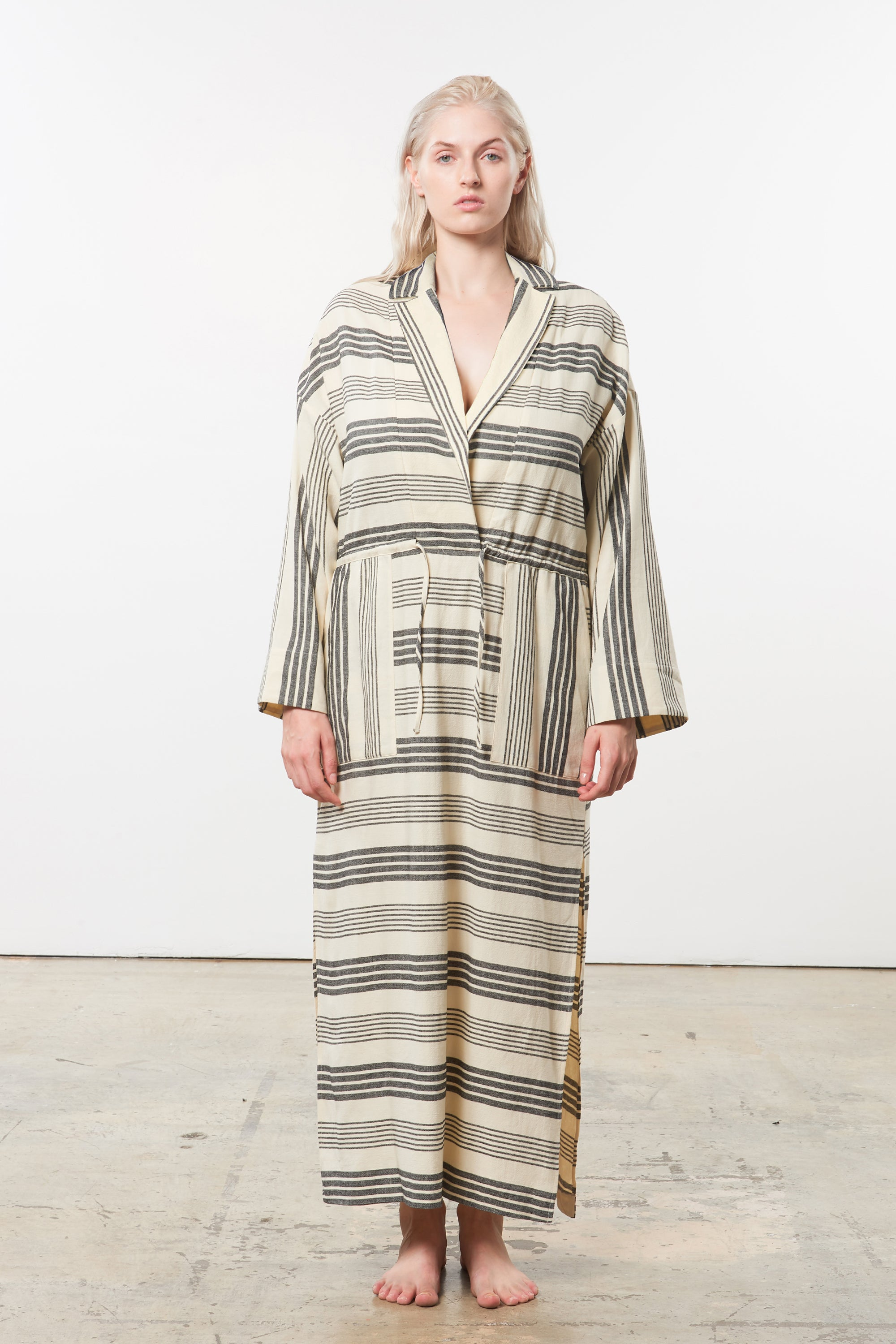 Mara Hoffman Extended Diega Coverup Dress in black striped cotton TENCEL Lyocell blend (unbelted)
