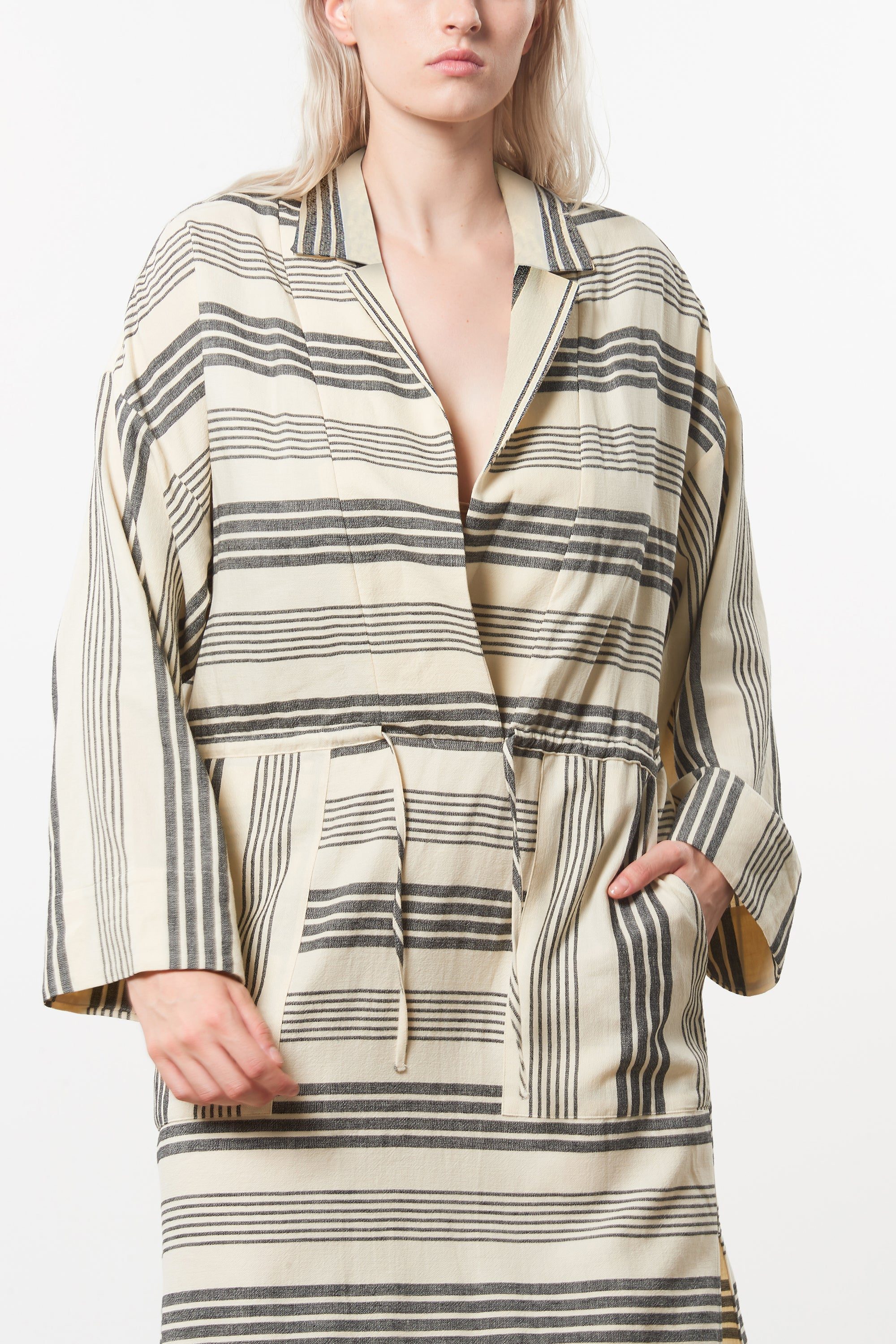 Mara Hoffman Extended Diega Coverup Dress in black striped cotton TENCEL Lyocell blend (detail)