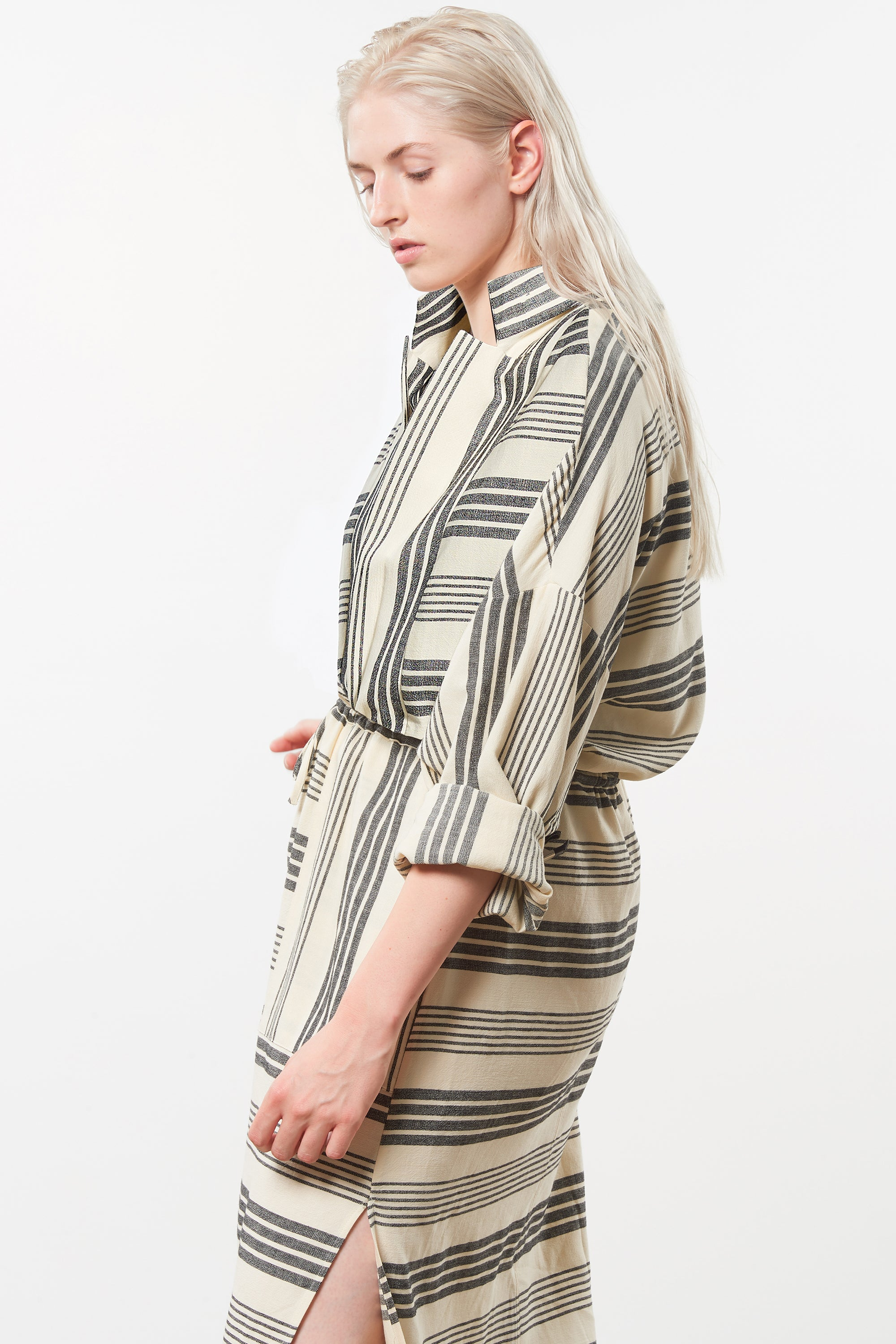 Mara Hoffman Extended Diega Coverup Dress in black striped cotton TENCEL Lyocell blend (side detail)