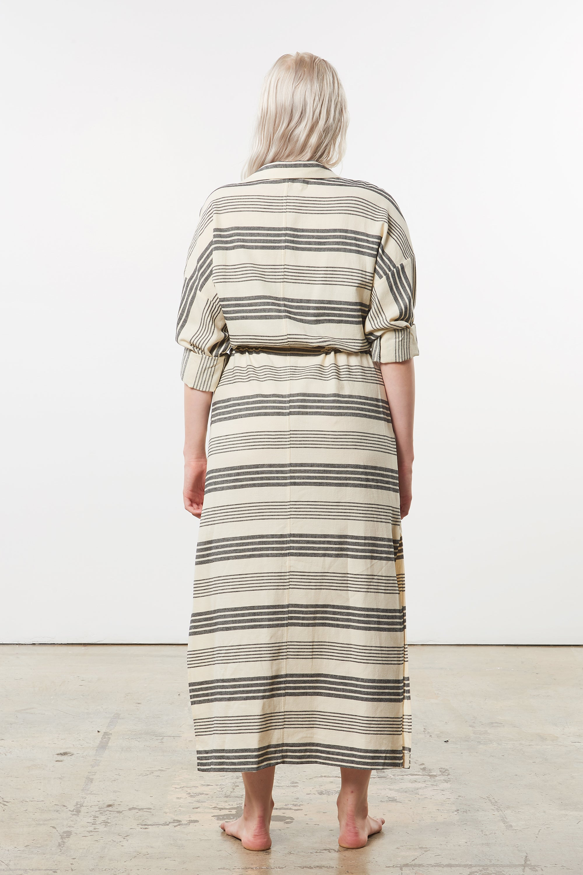 Mara Hoffman Extended Diega Coverup Dress in black striped cotton TENCEL Lyocell blend (back)