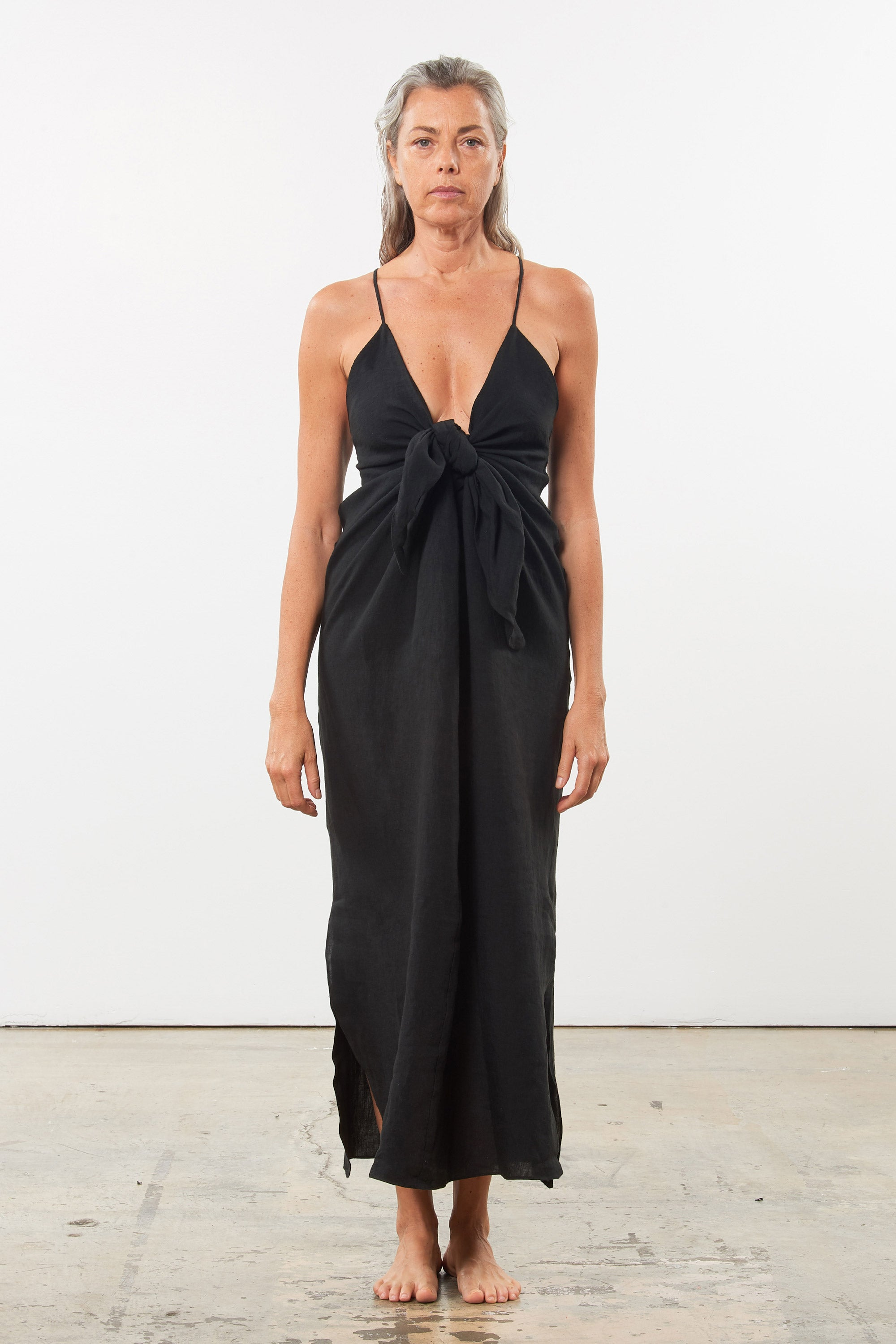 Mara Hoffman Black Lolita Cover Up dress in linen (front)