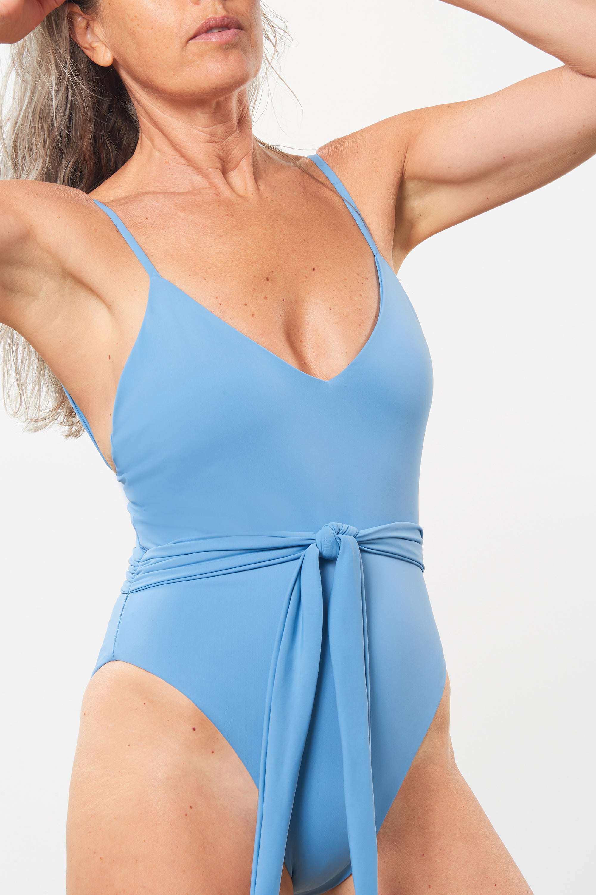 Mara Hoffman Blue Gamela One Piece in recycled polyester (front detail)