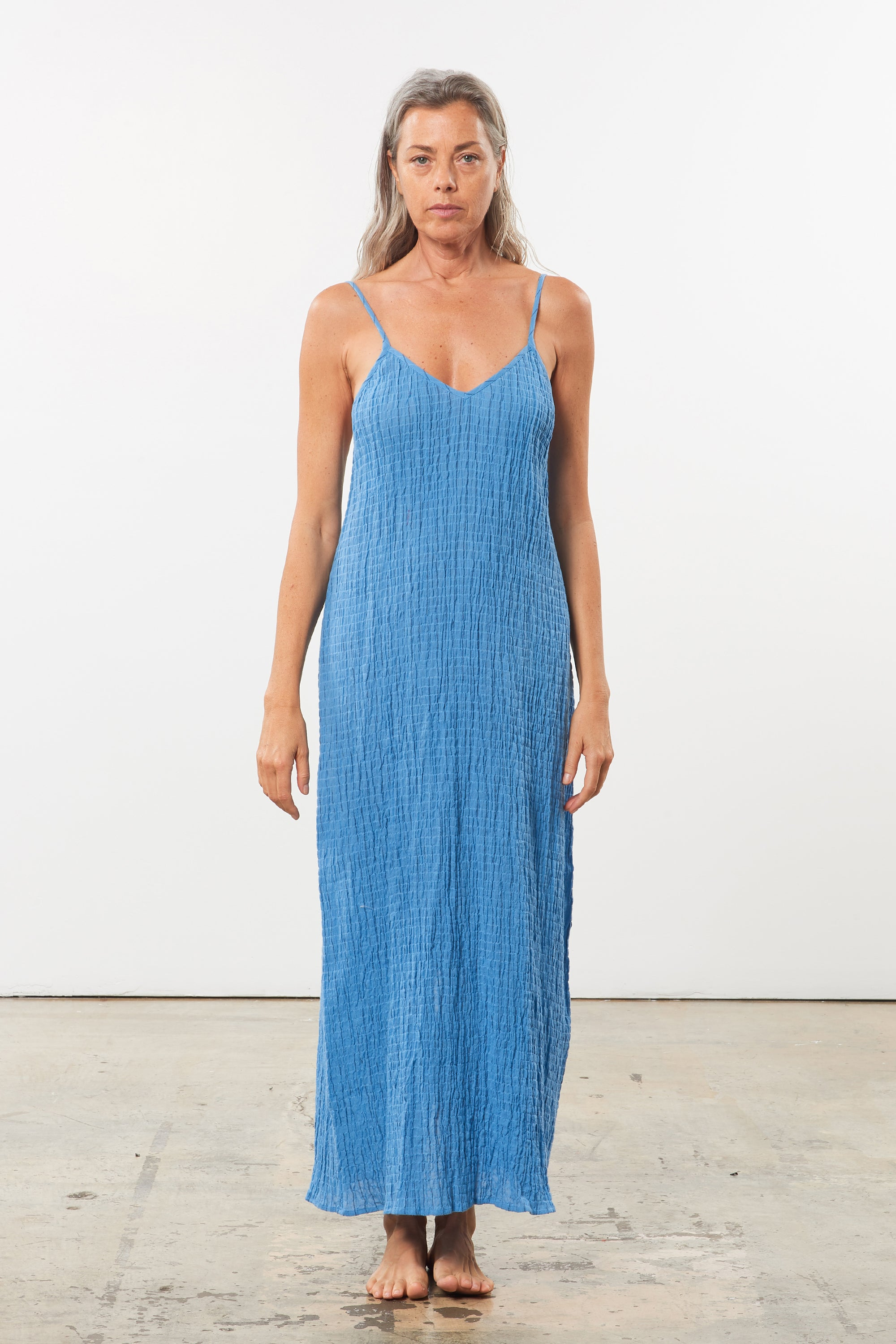 Mara Hoffman Blue Inesa Cover Up Dress in organic cotton (front)