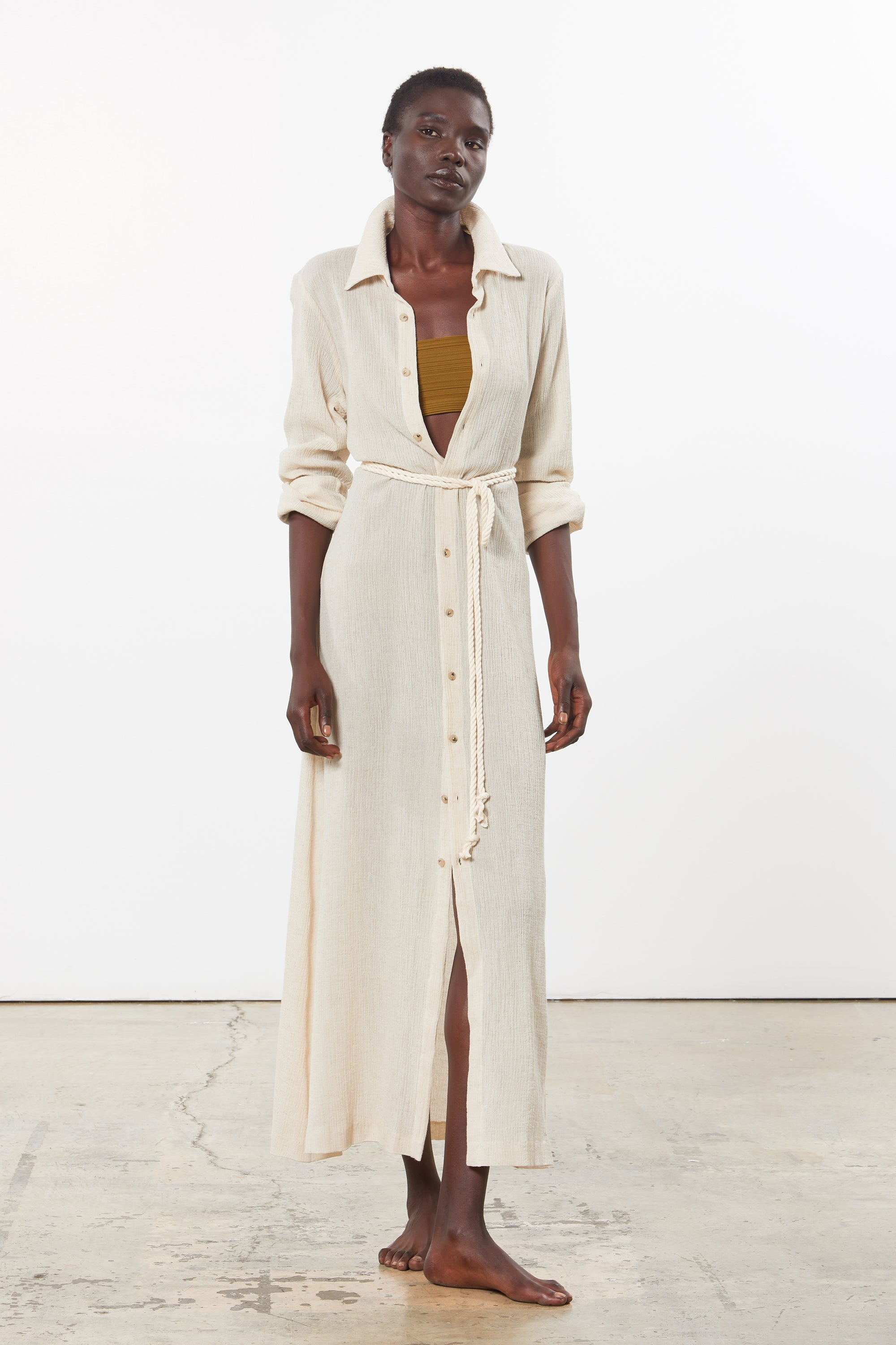 Mara Hoffman Beige Cinzia Cover Up Dress in organic cotton and linen (front)