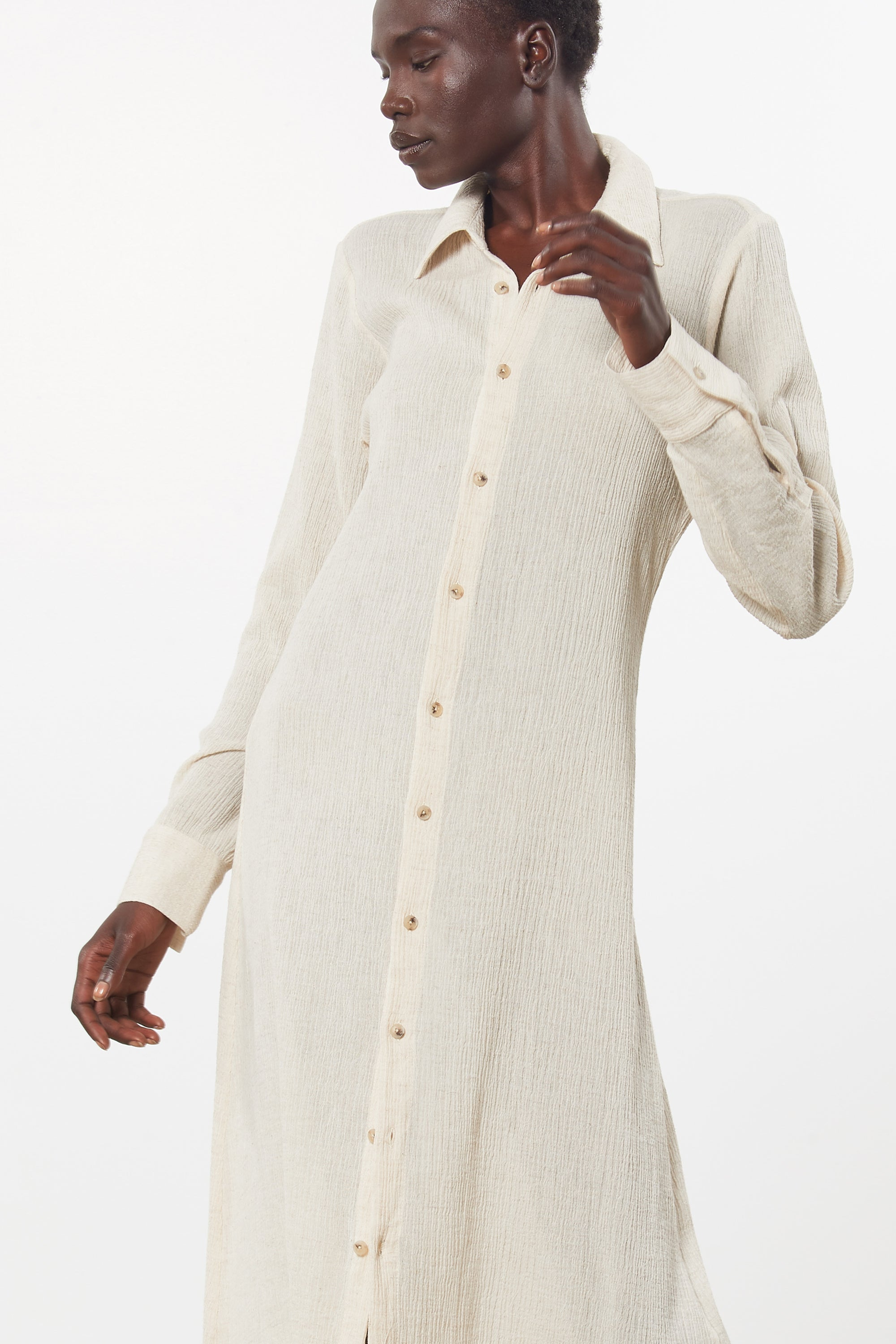 Mara Hoffman Beige Cinzia Cover Up Dress in organic cotton and linen (front unbelted deatil)