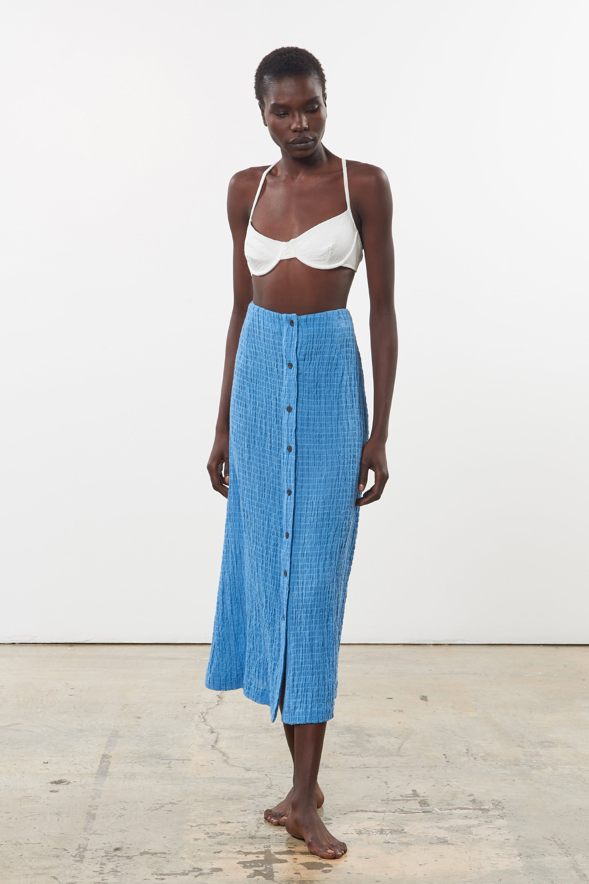 Mara Hoffman Blue Aria Cover Up Skirt in organic cotton (front)