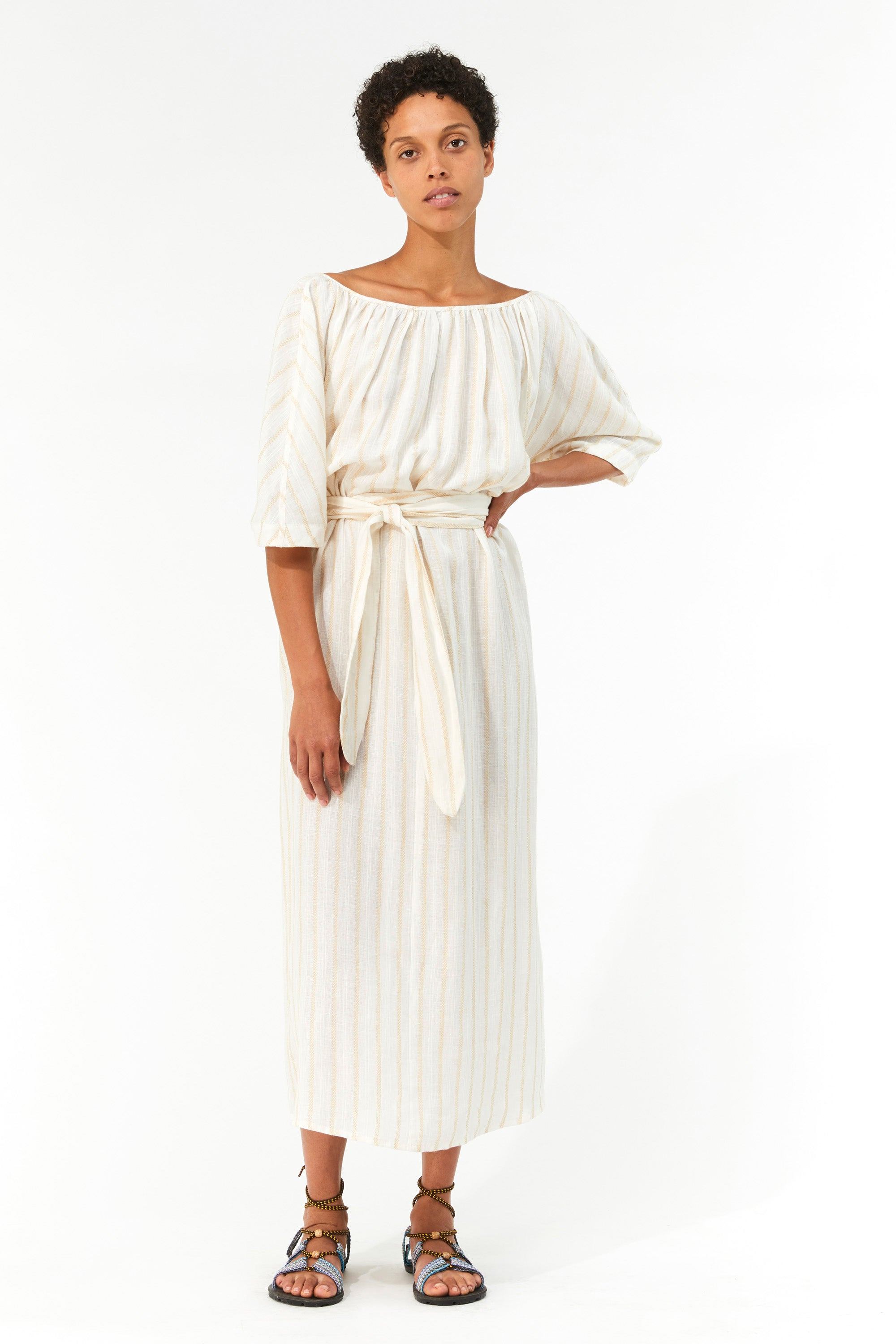 Mara Hoffman Ivory Aliz Dress in linen-Tencel blend (front)