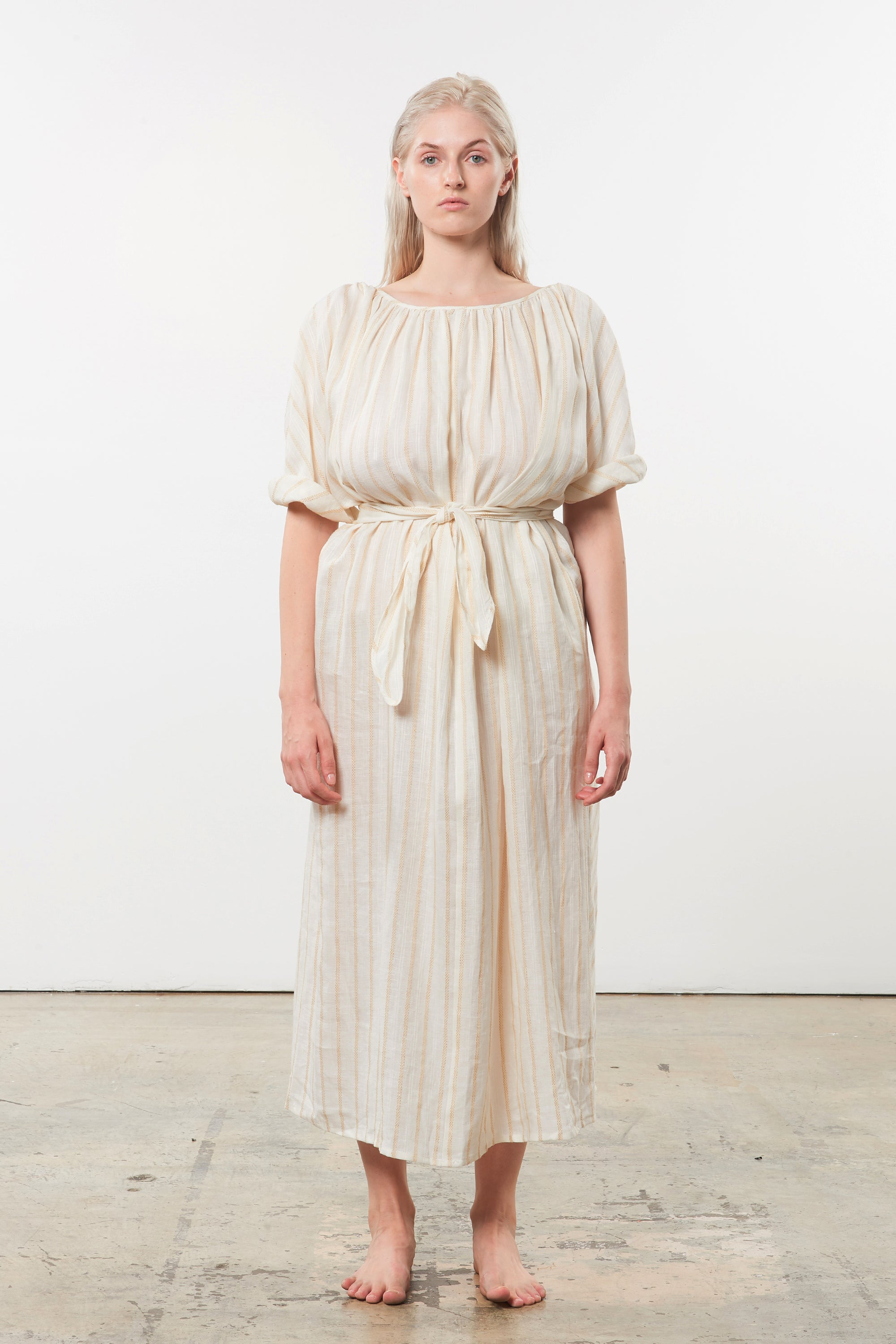 Mara Hoffman Extended Ivory Aliz Dress in linen-Tencel blend (front)