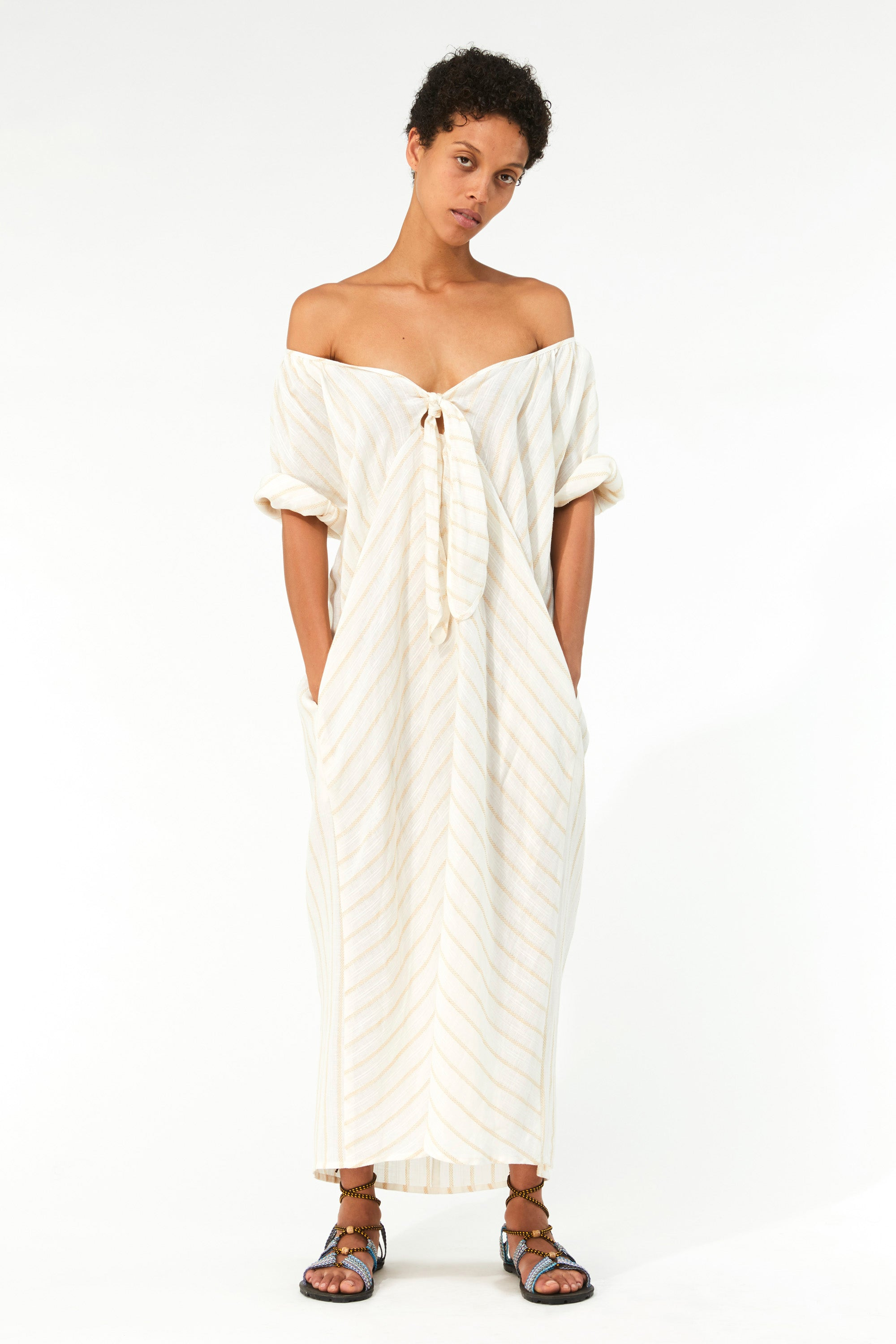 Mara Hoffman Ivory Aliz Dress in linen-Tencel blend (off the shoulder)