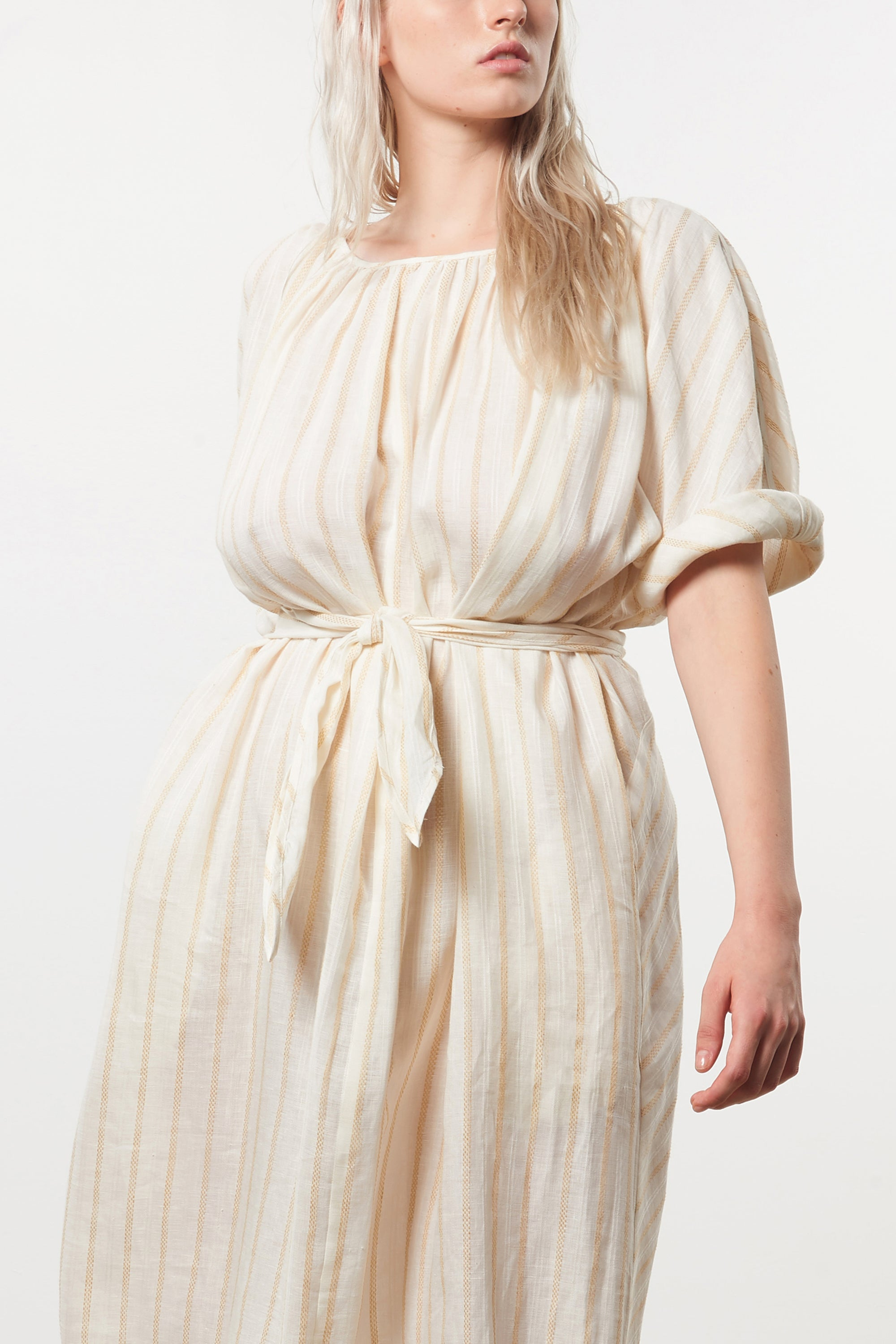 Mara Hoffman Extended Ivory Aliz Dress in linen-Tencel blend (waist detail)