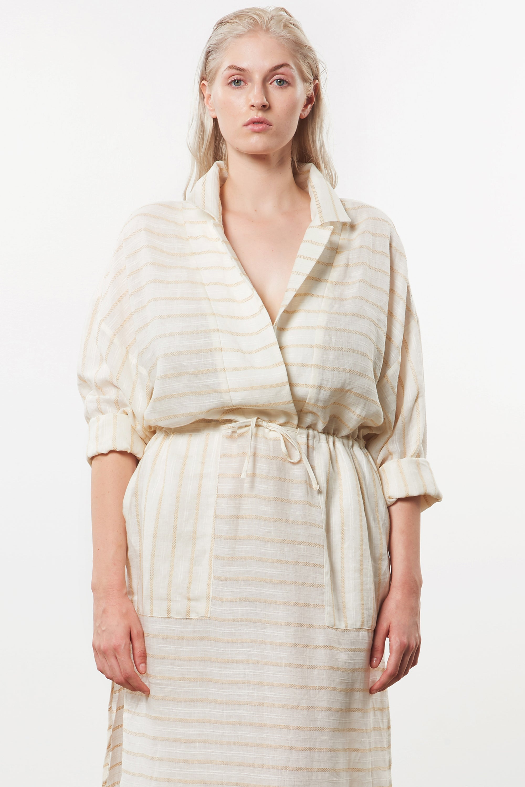 Mara Hoffman Extended  Diega Coverup Dress in Ivory linen TENCEL Lyocell blend (detail)
