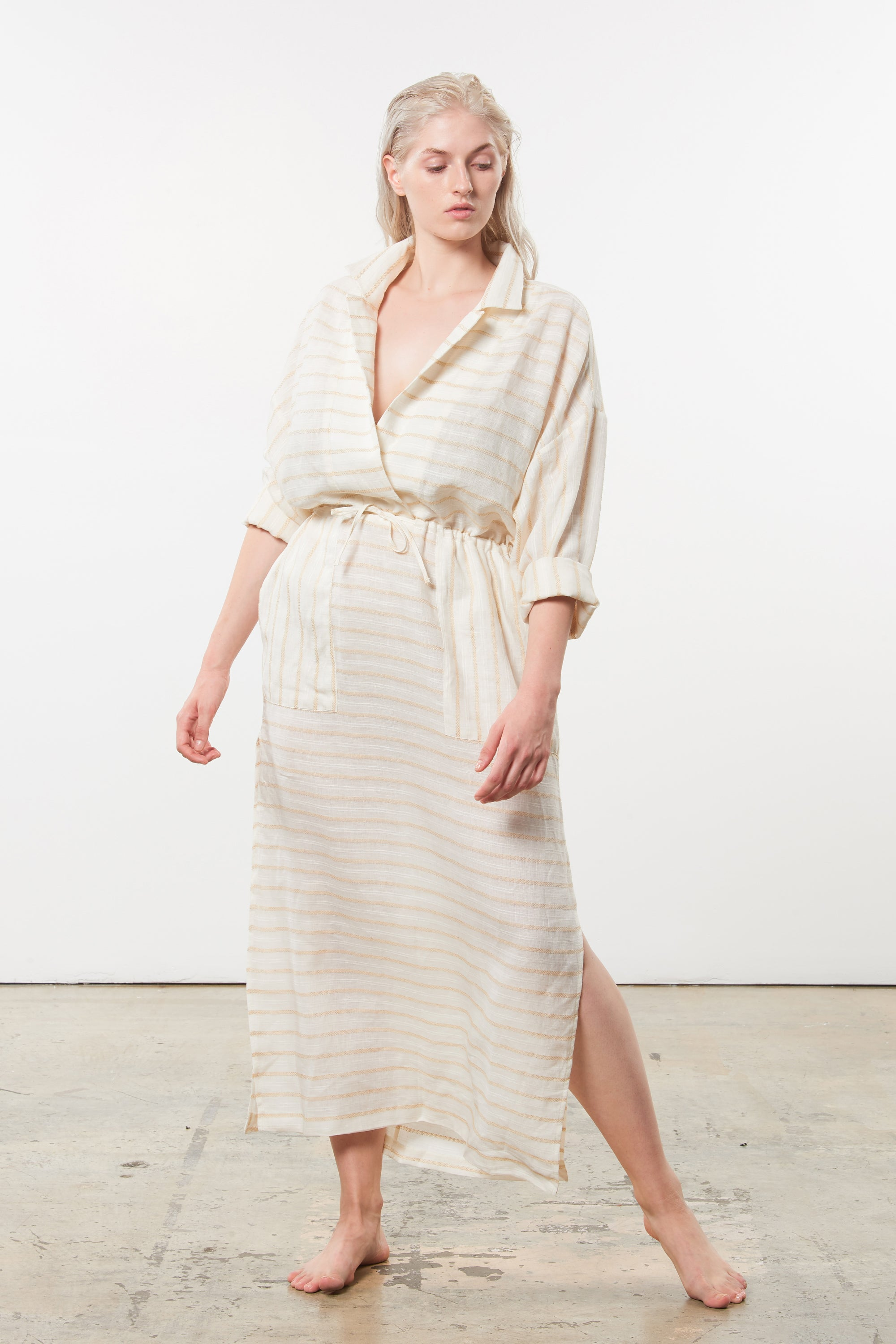 Mara Hoffman Extended Diega Coverup Dress in Ivory linen TENCEL Lyocell blend (front)