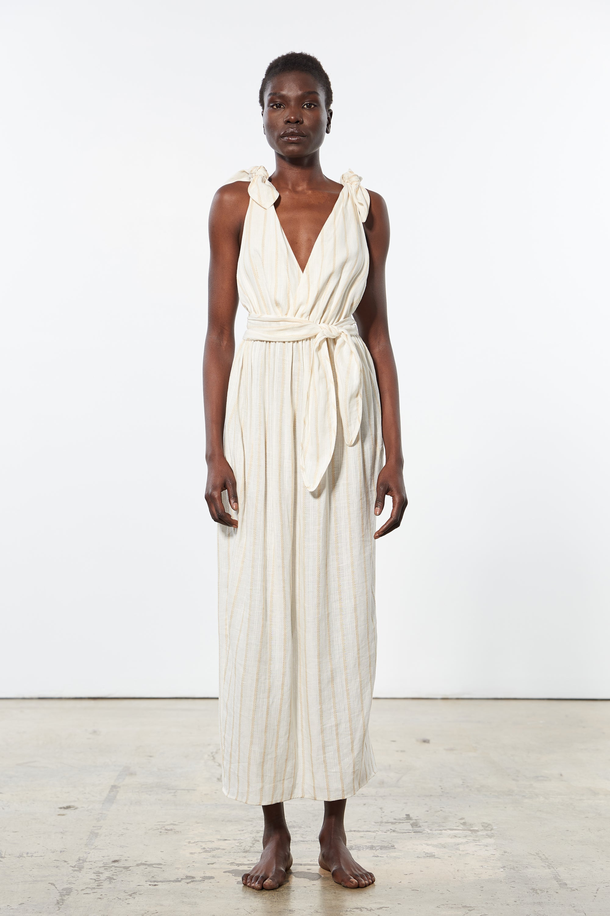 Mara Hoffman Ivory Calpyso Cover Up Dress in linen Tencel (front)