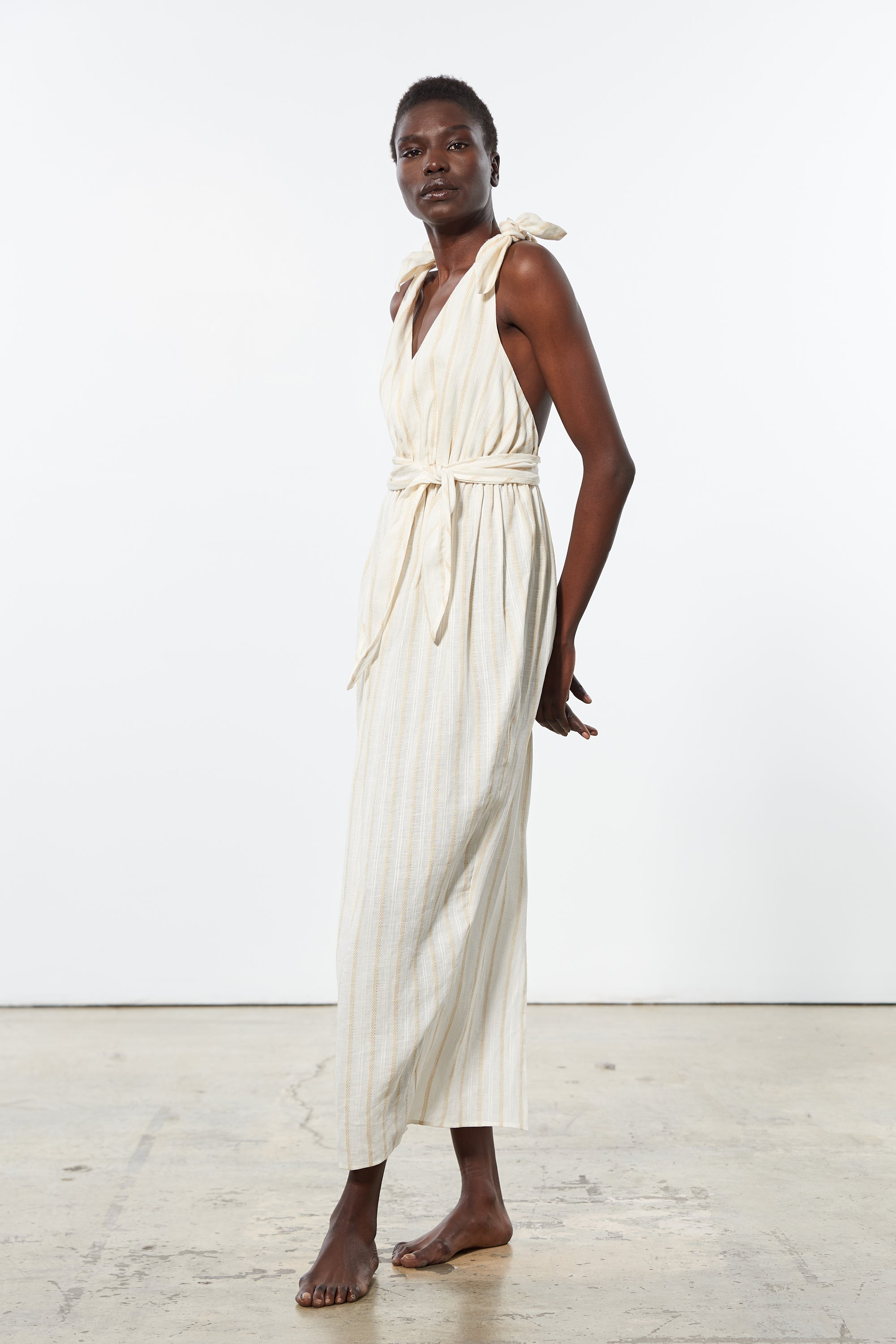Mara Hoffman Ivory Calpyso Cover Up Dress in linen Tencel (side)