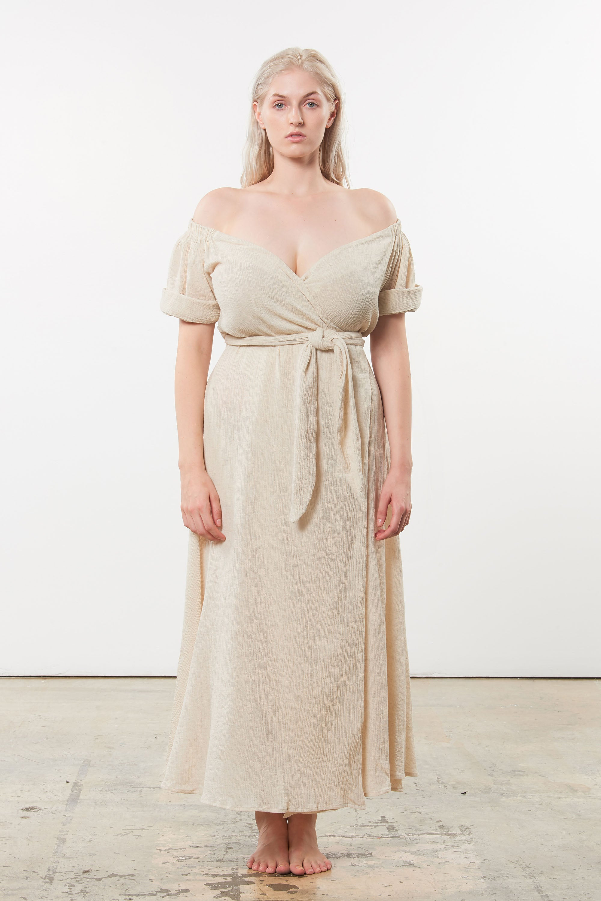 Mara Hoffman Extended Beige Adelina Cover Up Dress in organic cotton and linen (front)