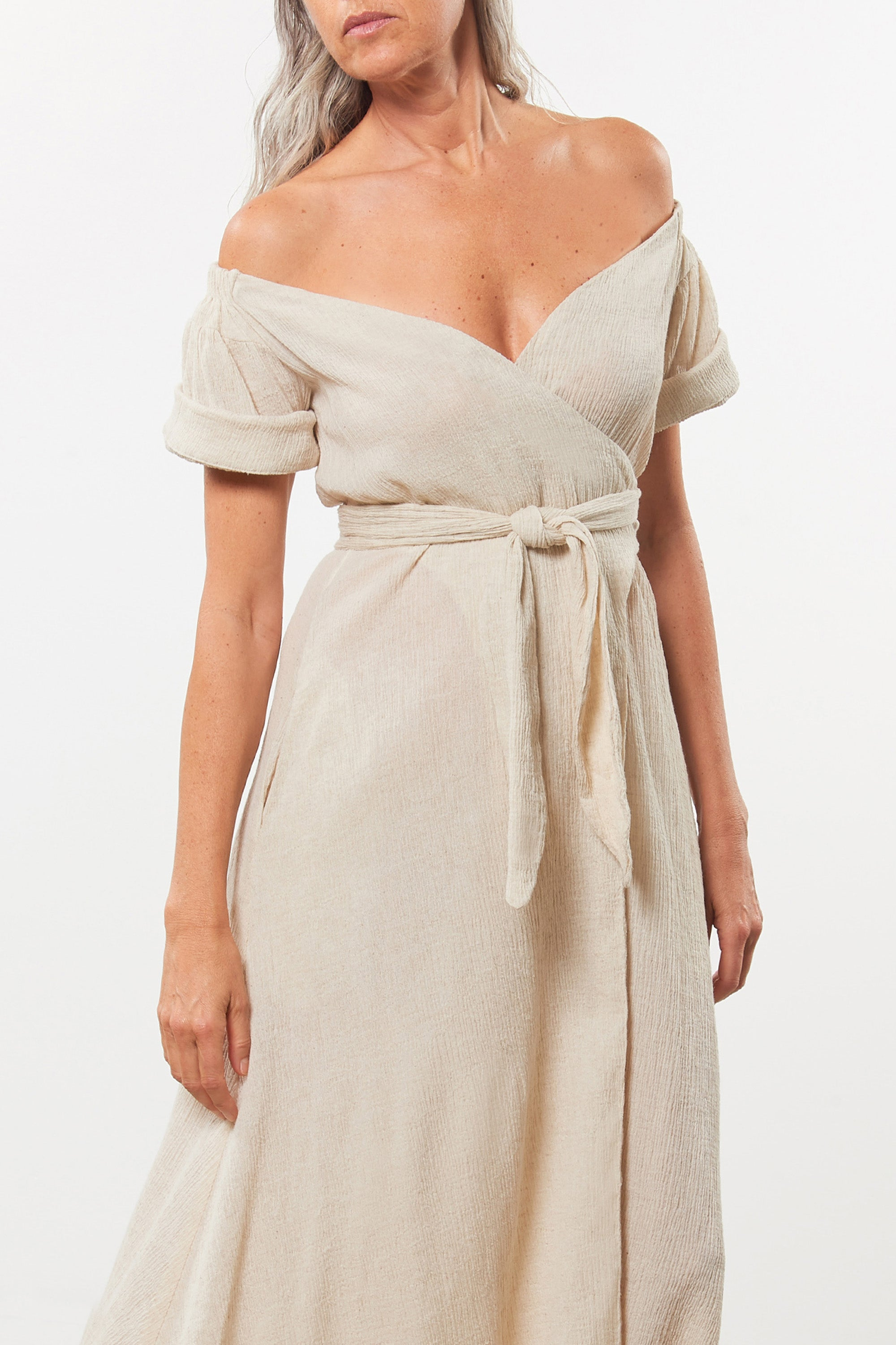 Mara Hoffman Beige Adelina Cover Up Dress in organic cotton and linen (neckline detail)