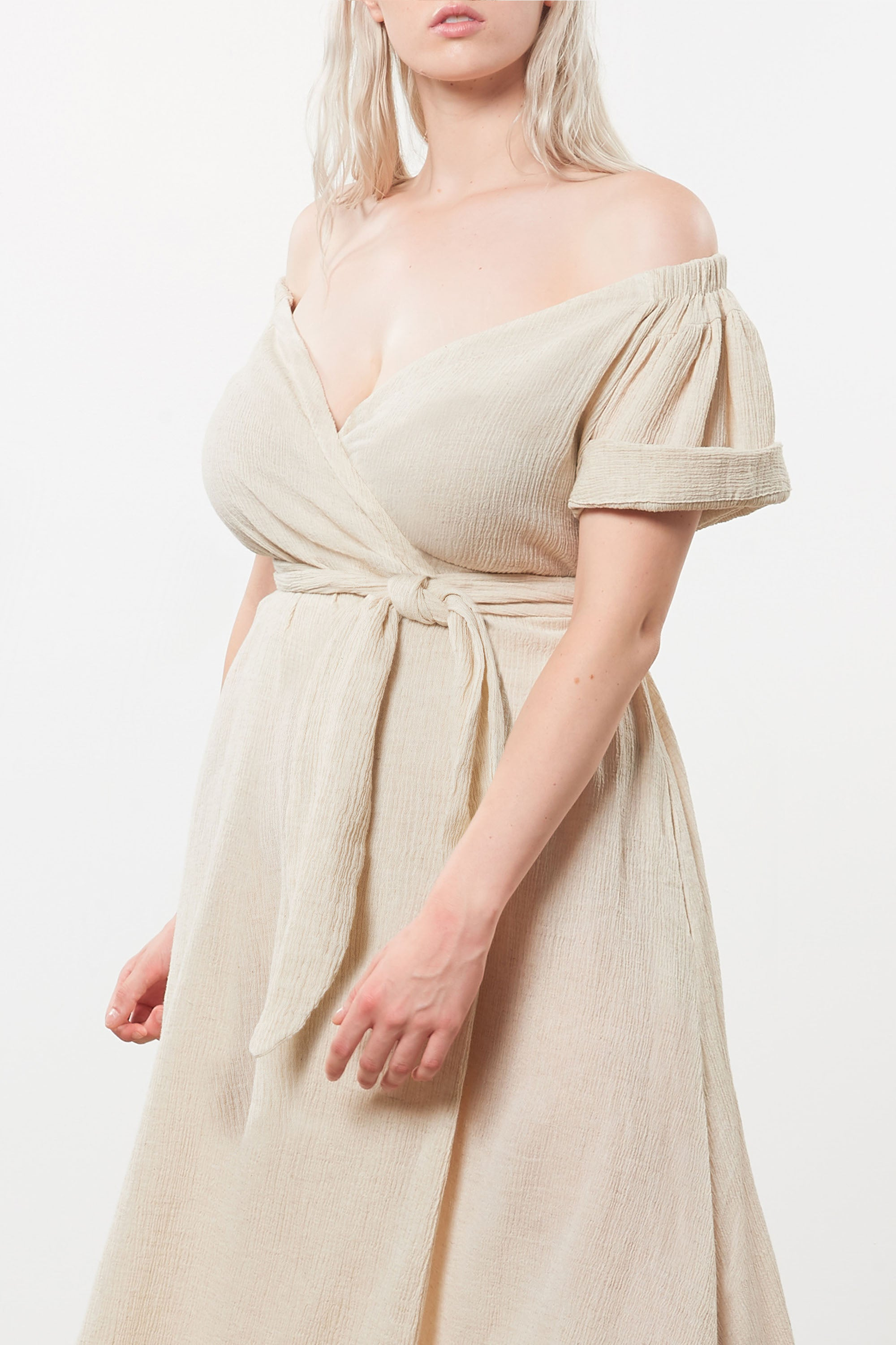 Mara Hoffman Extended Beige Adelina Cover Up Dress in organic cotton and linen (neckline detail)