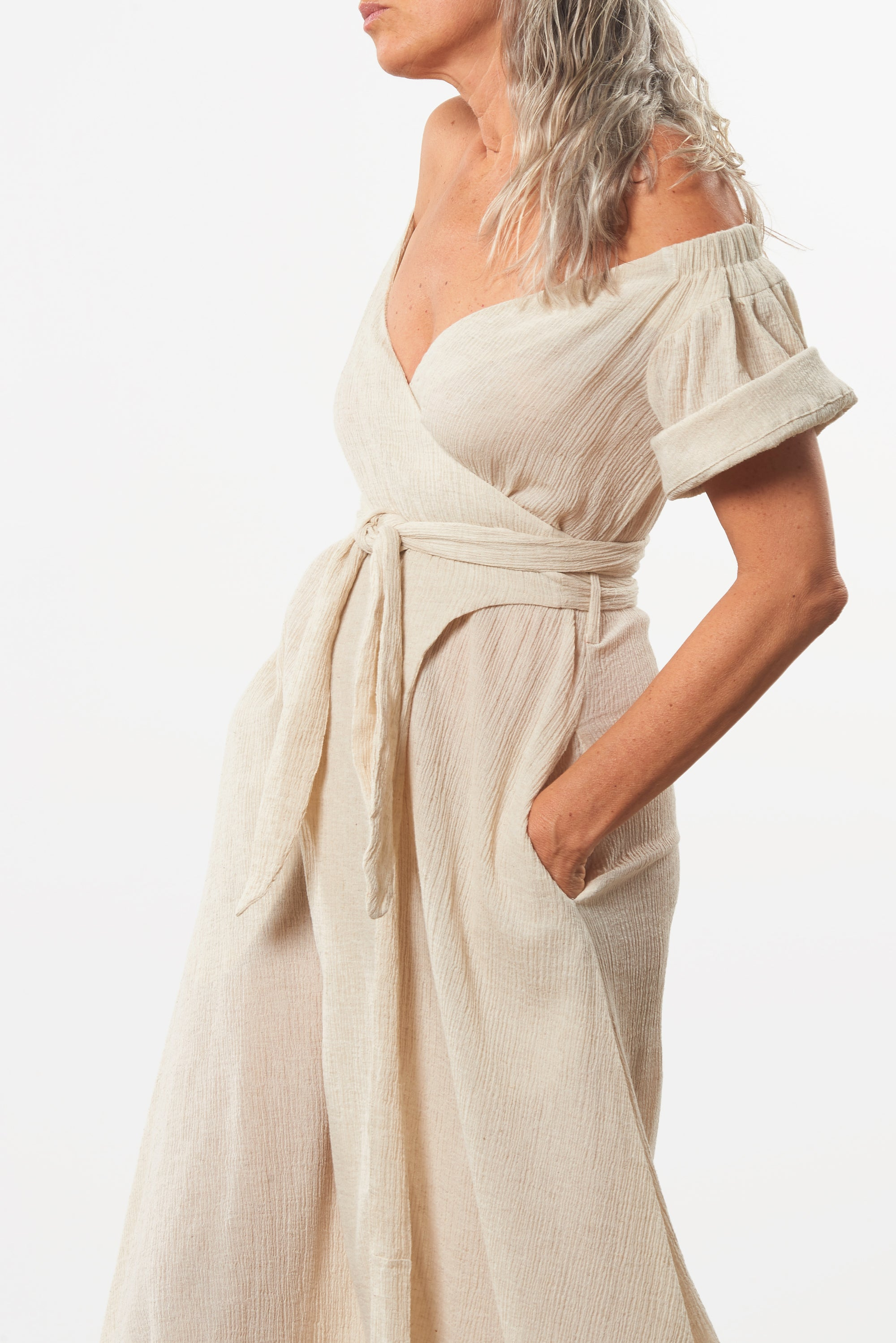 Mara Hoffman Beige Adelina Cover Up Dress in organic cotton and linen (detail)