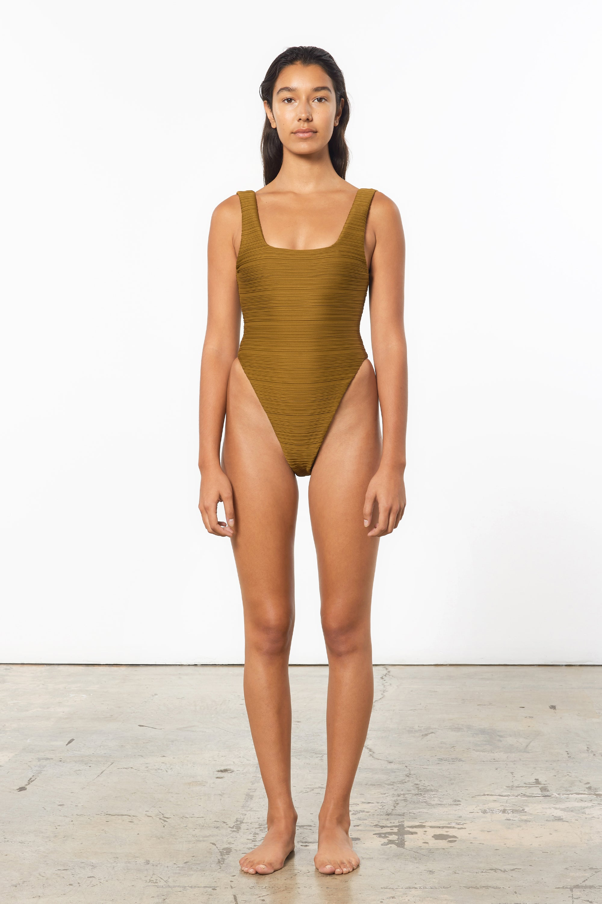 Mara Hoffman Olive Idalia One Piece in Repreve (front)
