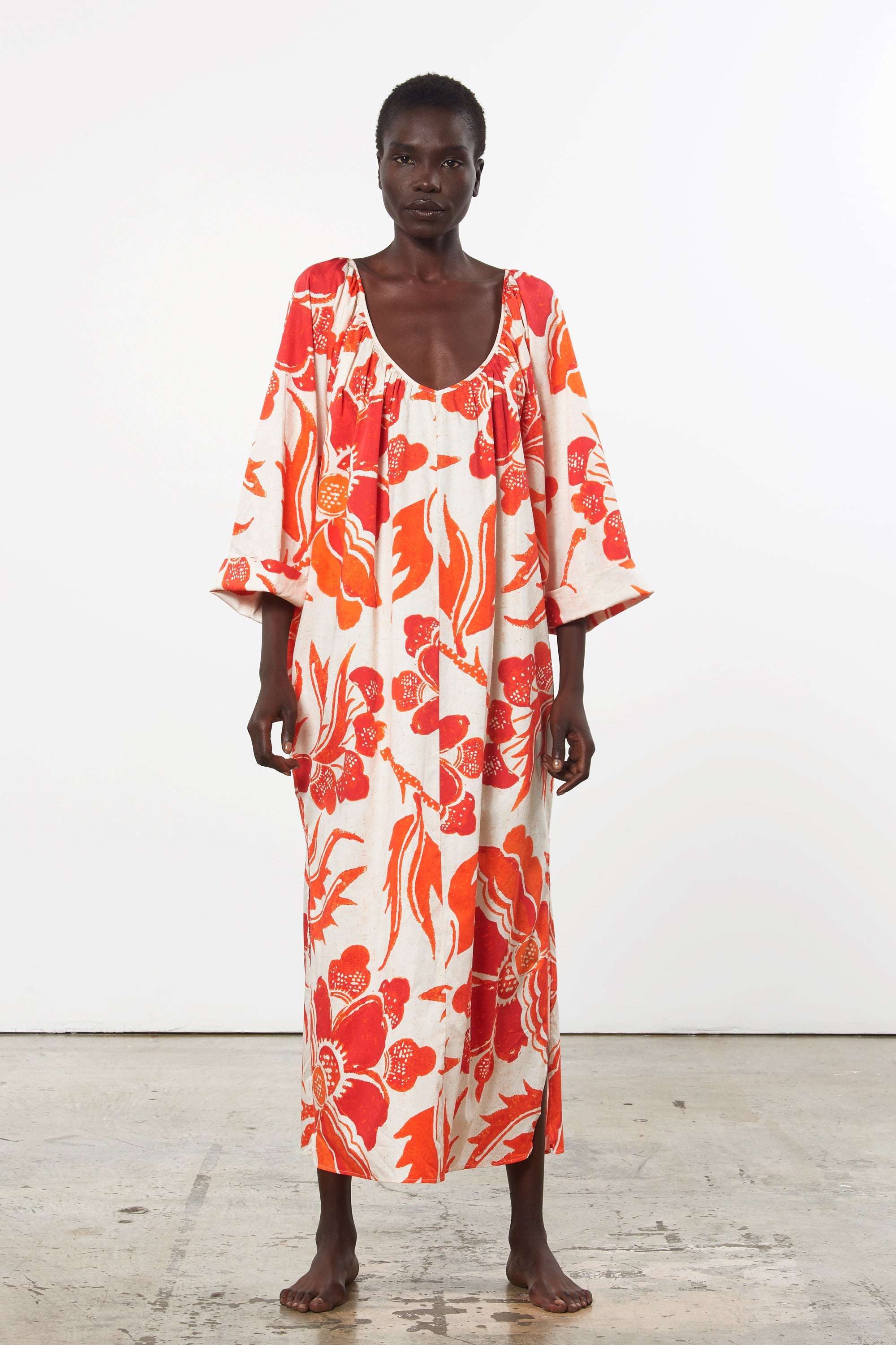 Mara Hoffman Luz Coverup in print organic cotton (front)