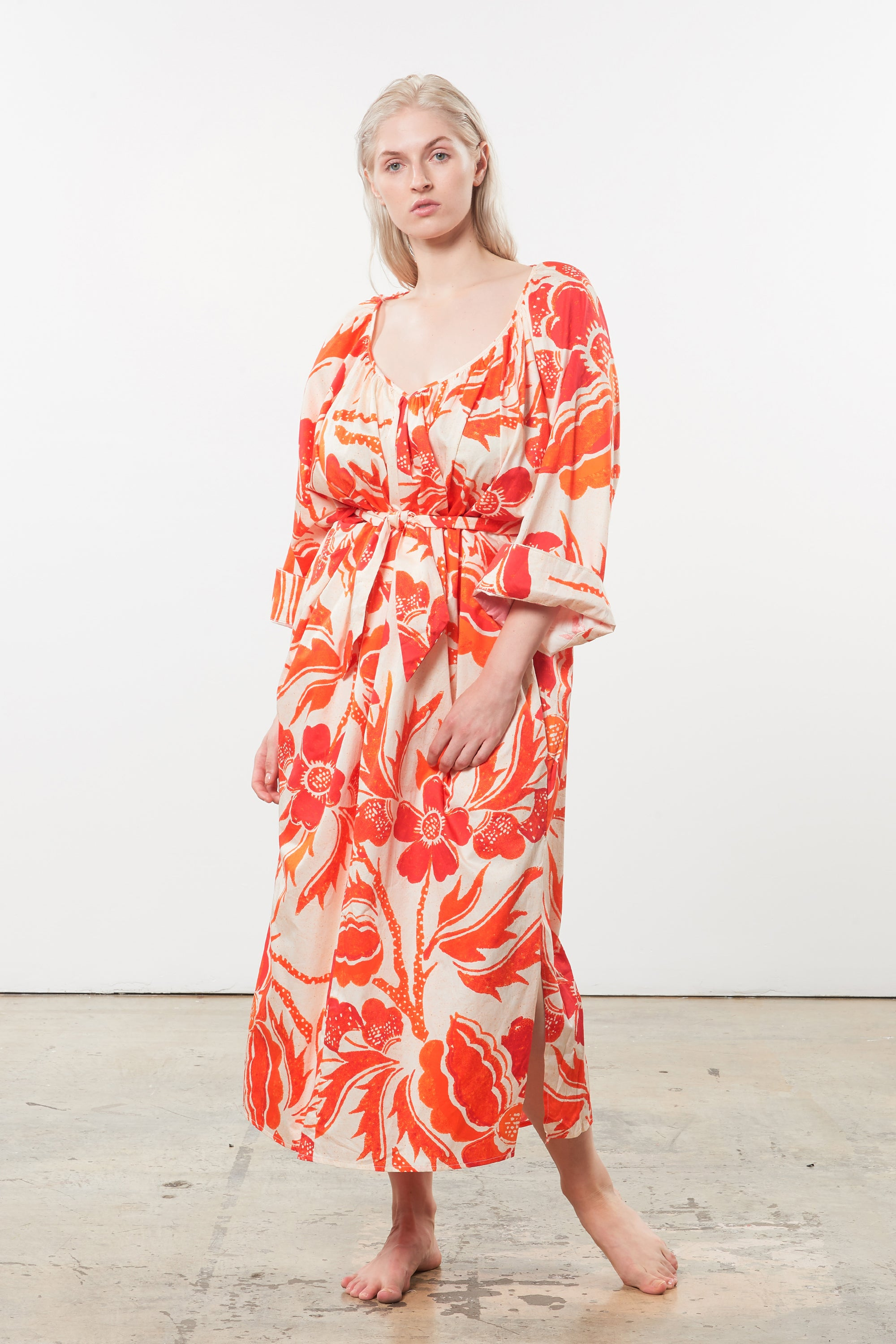 Mara Hoffman Extended Luz Coverup in print organic cotton (front)