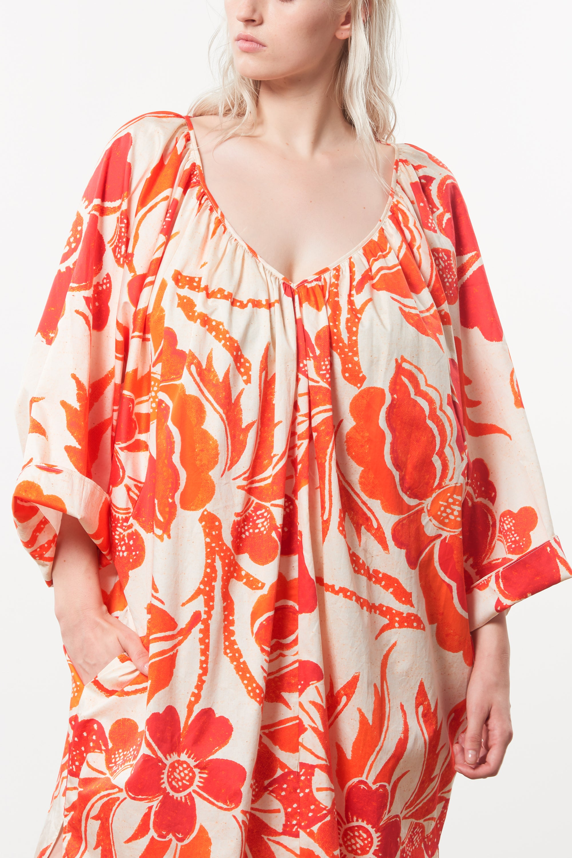 Mara Hoffman Extended Luz Coverup in print organic cotton (detail)