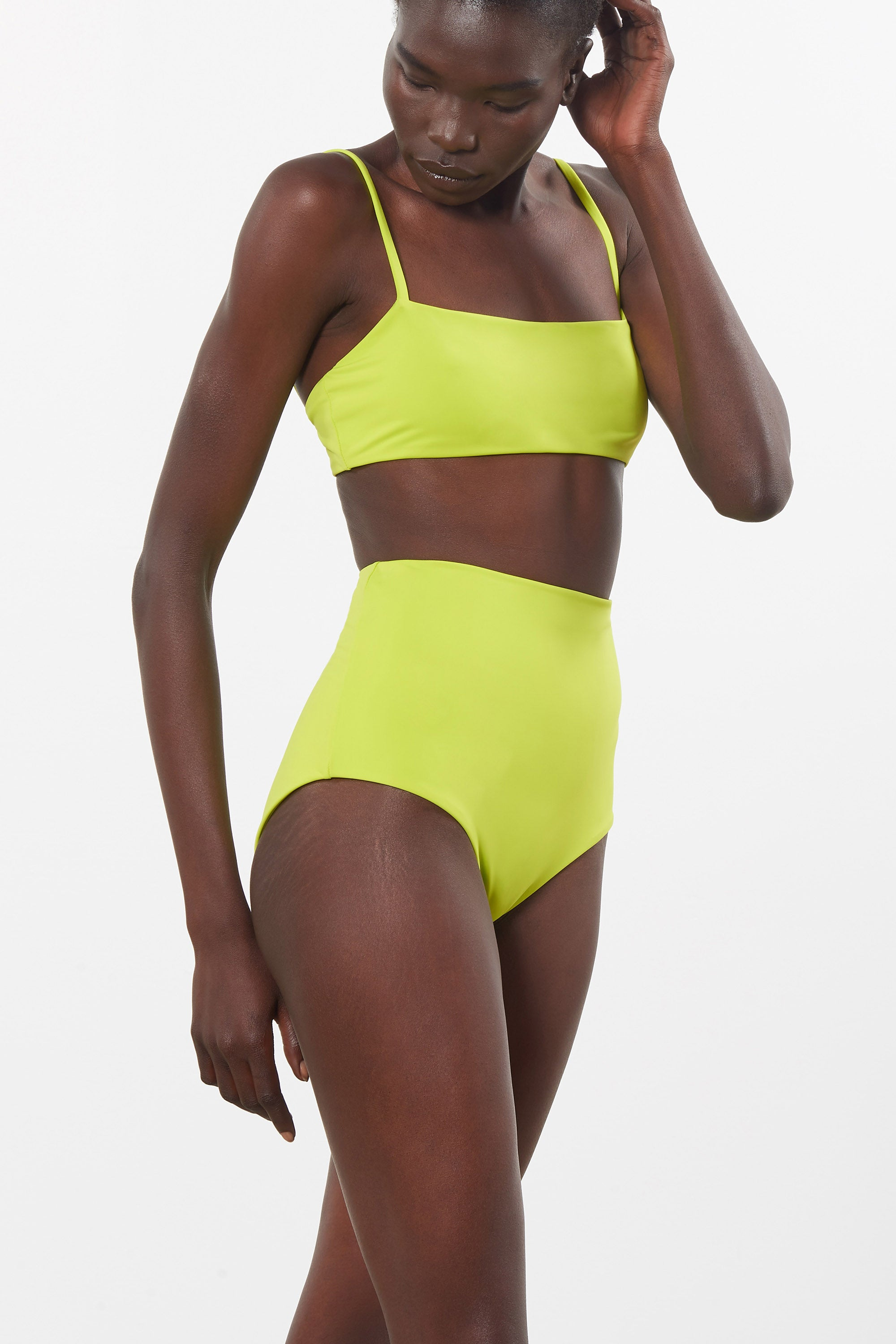 Mara Hoffman Green Lydia Bikini Bottom in Econyl (side detail)